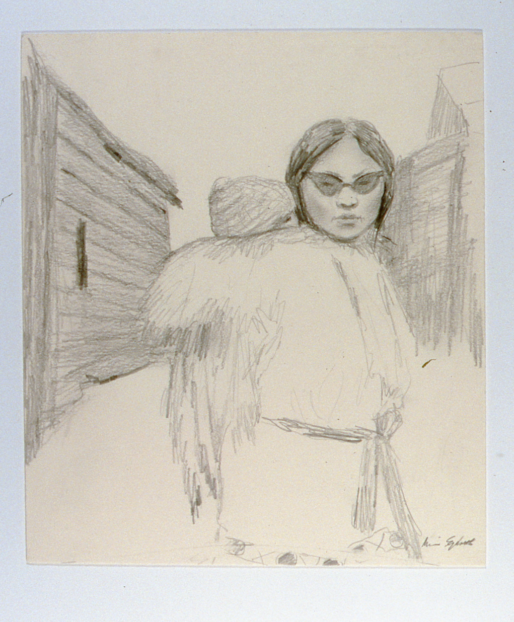 """Sketch for  Saturday Afternoon , 1982, Minn Sjølseth, graphite, 11 1/2"""" x 9 1/2"""", 2000.04.06, gift of Al and Laila Campbell"""