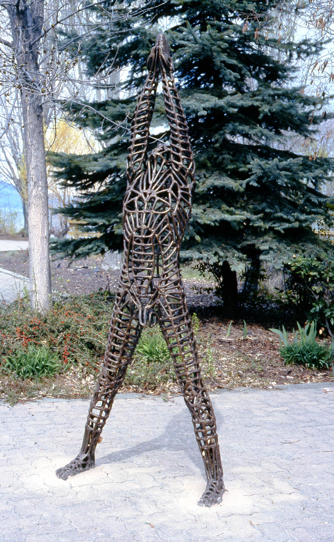 "Breaking Through, 1979, Aleta Shores (n. La France), welded steel, 90"" tall, 2001. 03.01, gift of Dr. Elliot & Loretta Phillips"
