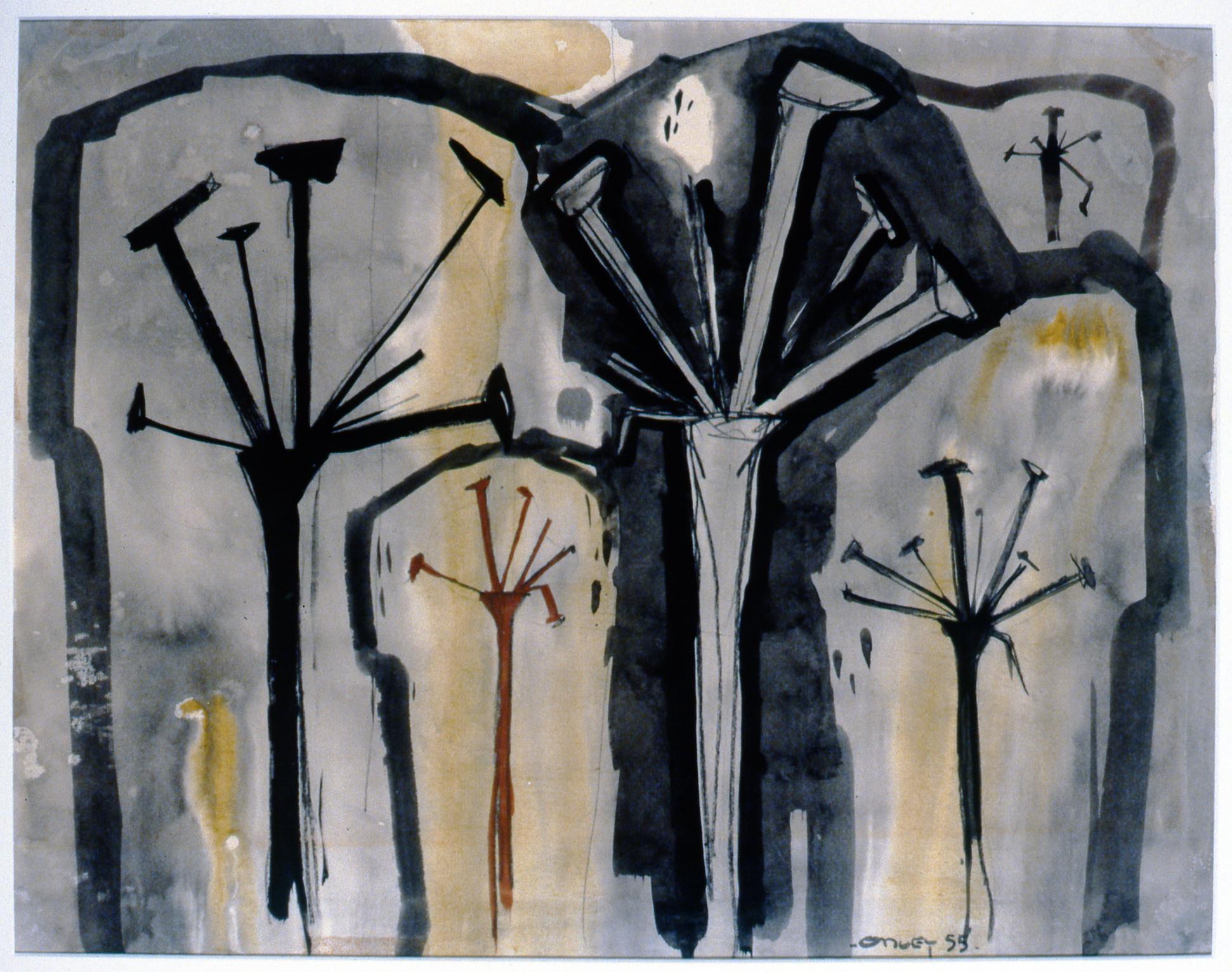 Iris , 1955, Toni Onley, watercolour, 40 cm x 52.7 cm, 2001.04.02. Gift of the Estate of Ethel & Maurice Joslin.