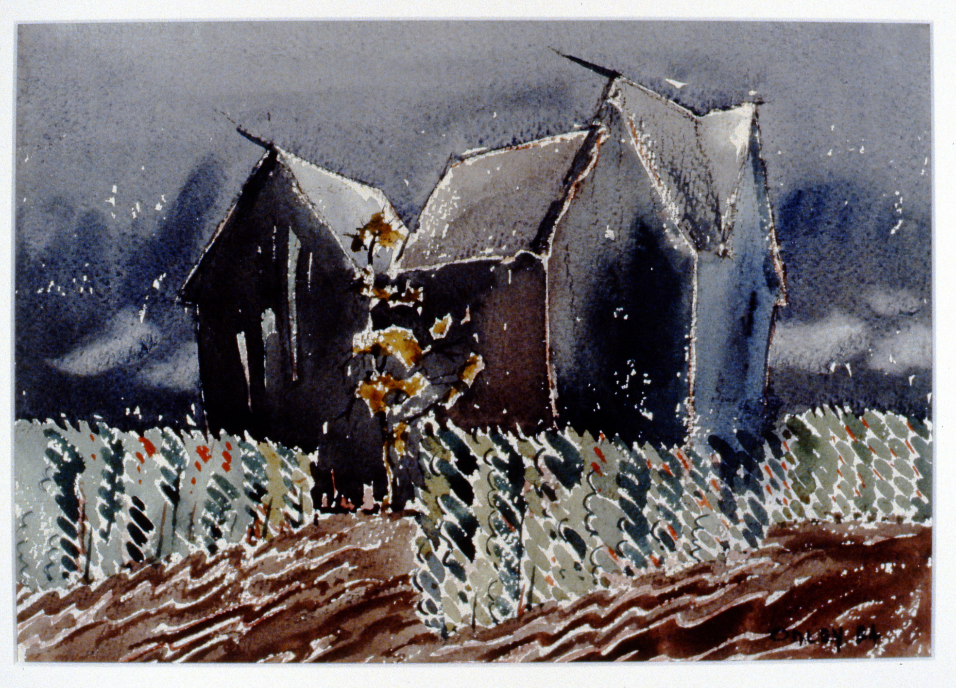 Untitled (Cainsville/Ontario), 1954, Toni Onley, watercolour, 26 cm x 36.9 cm, 2001.04.03. Gift of the Estate of Ethel & Maurice Joslin.