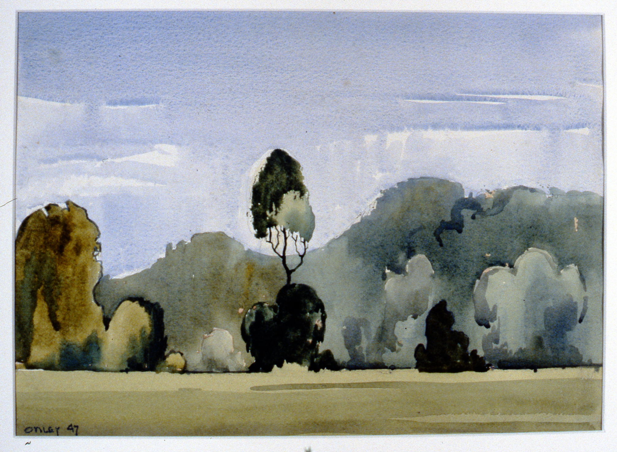 Landscape - Isle of Man (Baldwin Valley) , 1947, Toni Onley, watercolour, 27.4 cm x 38 cm, 2001.04.05. Gift of the Estate of Ethel & Maurice Joslin.
