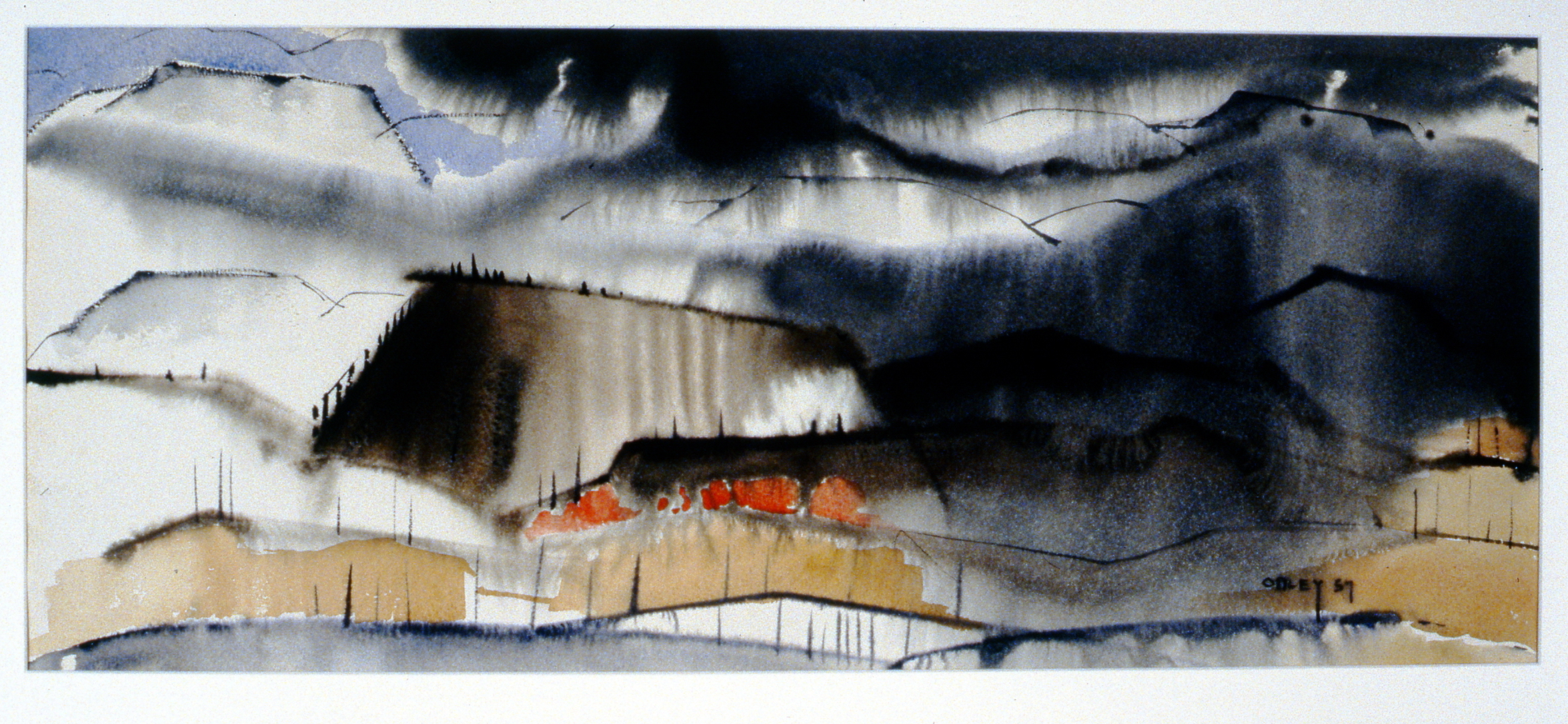Rain Squall - Okanagan Landscape , n.d., Toni Onley, watercolour, 32.4 cm x 75 cm, 2001.04.11. Gift of the Estate of Ethel & Maurice Joslin.