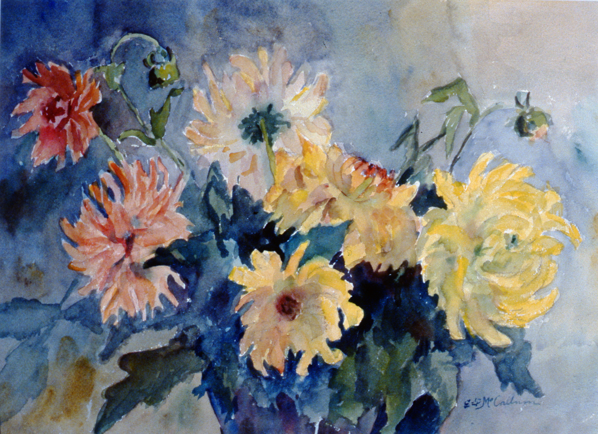 Flowers,  n.d., Ethel McCallum, watercolour, 25.4 cm x 30.5 cm, 2001.04.18,  gift of the Estate of Ethel & Maurice Joslin