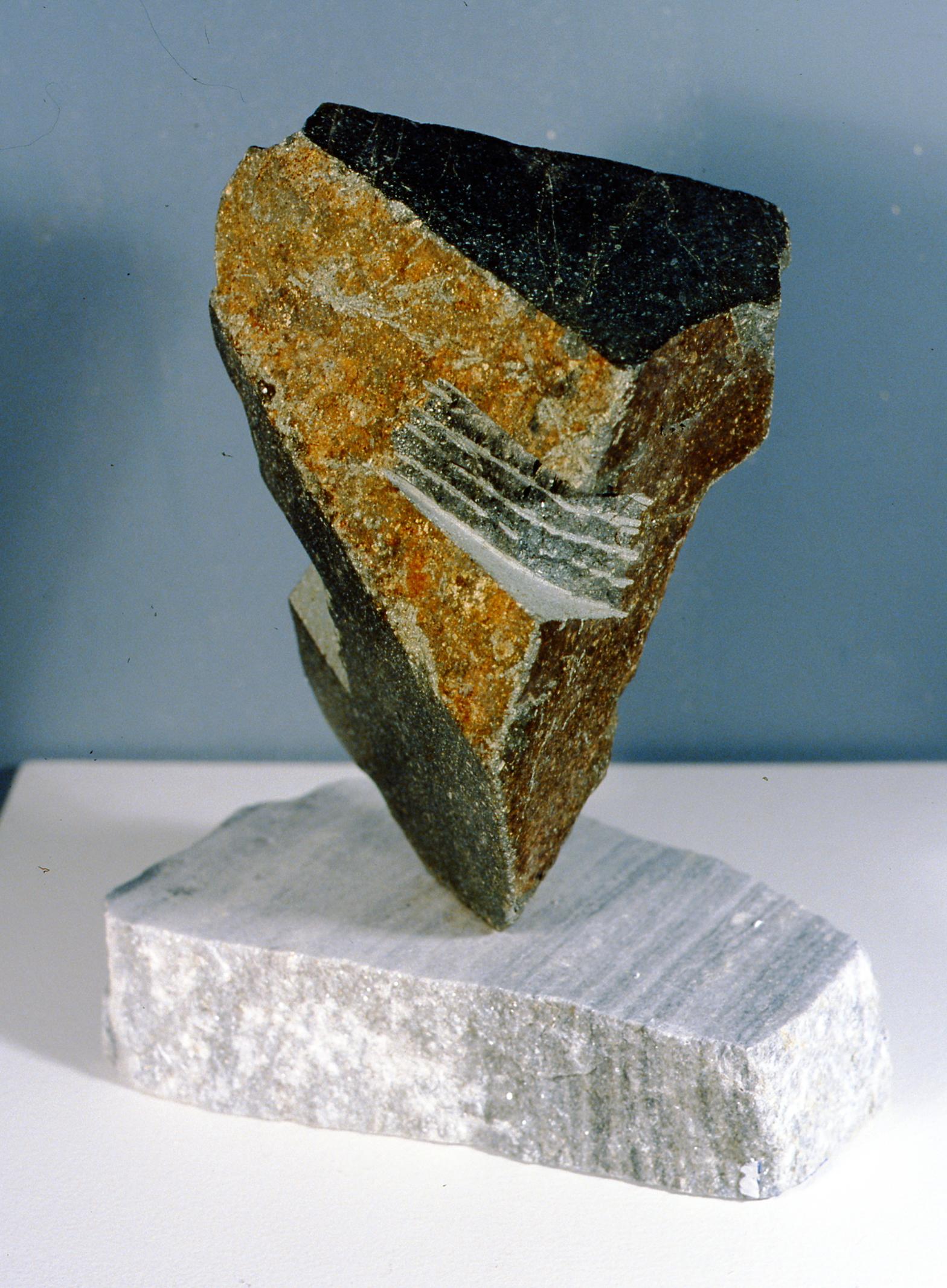 Uncarved Bock: Okanagan (view 1),2002, Jon Barlow Hudson, rock sculpture, 35 cm tall, 2002.06.01, gift of the artist