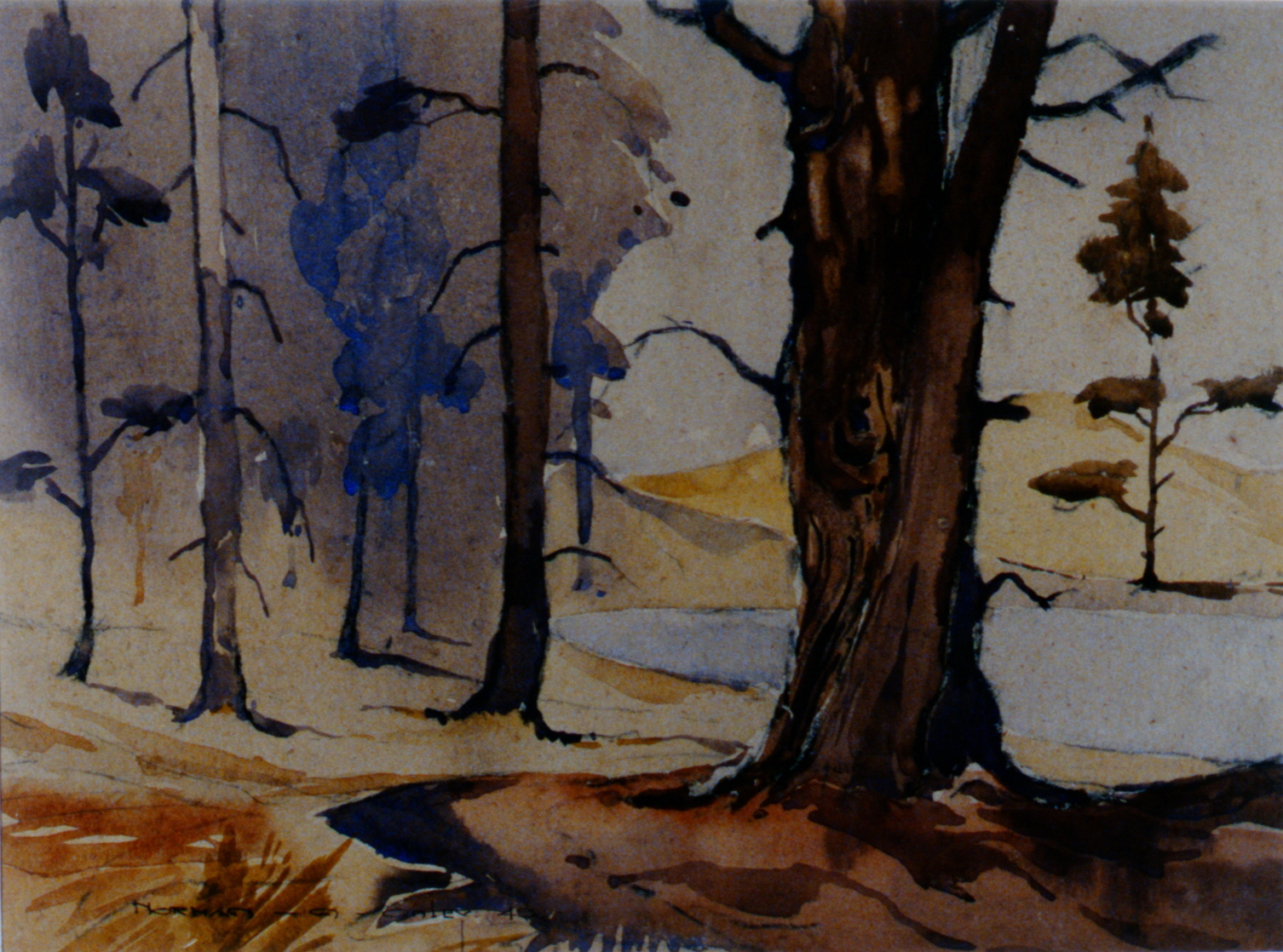 Near Galt  , Ontario , 1949, Toni Onley, watercolour on grey card stock, 29 cm x 39 cm, 2002.07.01. Gift of Katherine Lytle.