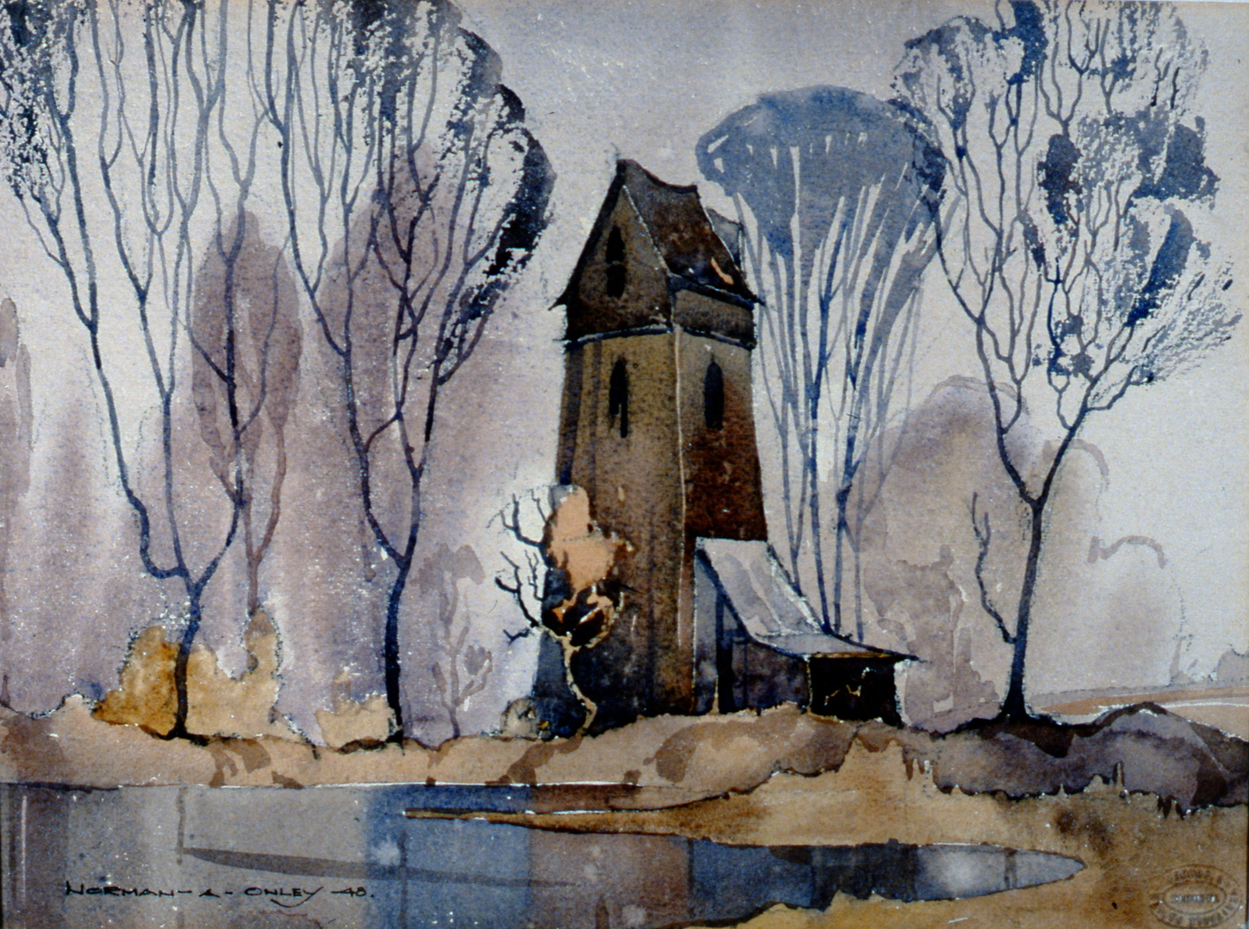 Old Power House, Blair, Ireland , 1948, Toni Onley, watercolour on watercolour paper, 28 cm x 38 cm, 2002.07.02. Gift of Katherine Lytle.