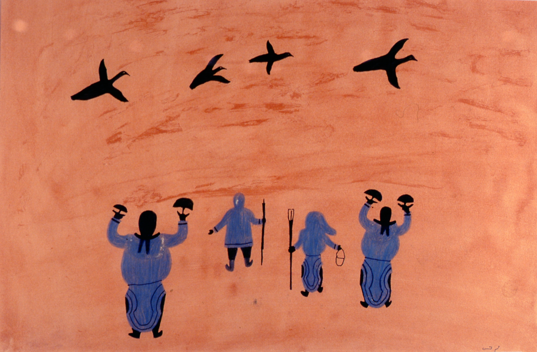 Figures and Birds , 1977/78, Lucy Quinnuakuak, acrylic and crayon on paper, 38 cm x 56 cm, 2003.06.01, gift of Mrs. Rosita Tovell