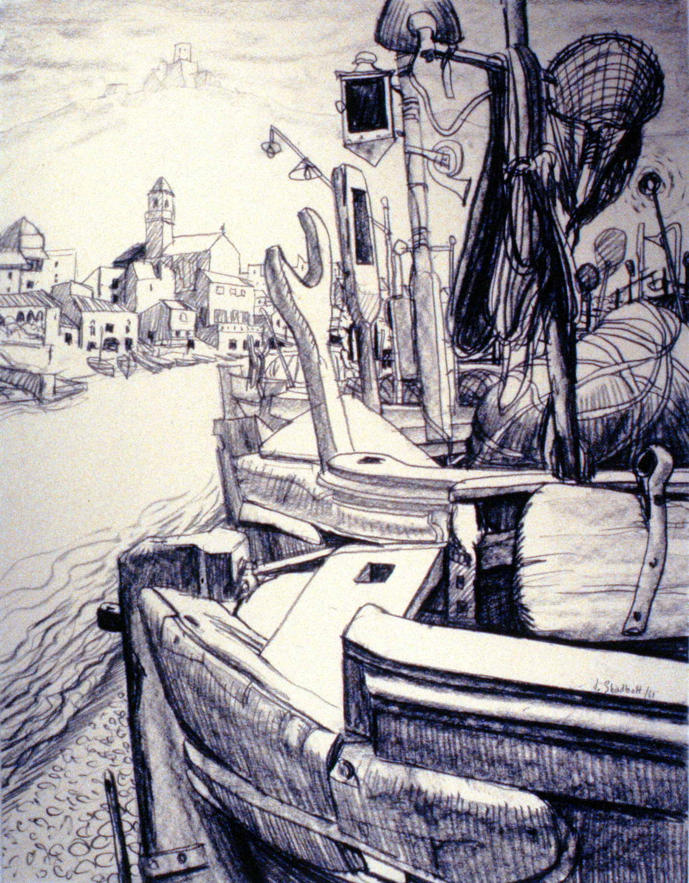Boats , 1961, Jack Shadbolt, graphite, 65 cm x 50 cm, 1971.01.01, gift of the Community Arts Council in memory of Margaret Patterson