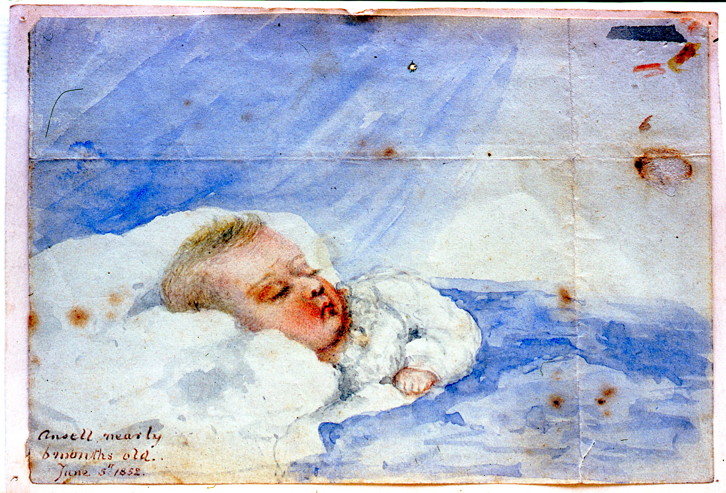 Ansell nearly 6 months old, June 5, 1852 , 1852, Julia Bullock Webster, watercolour on paper, 9.2 cm x 13.5 cm, 2003.02.32, gift of The Grist Mill at Keremeos