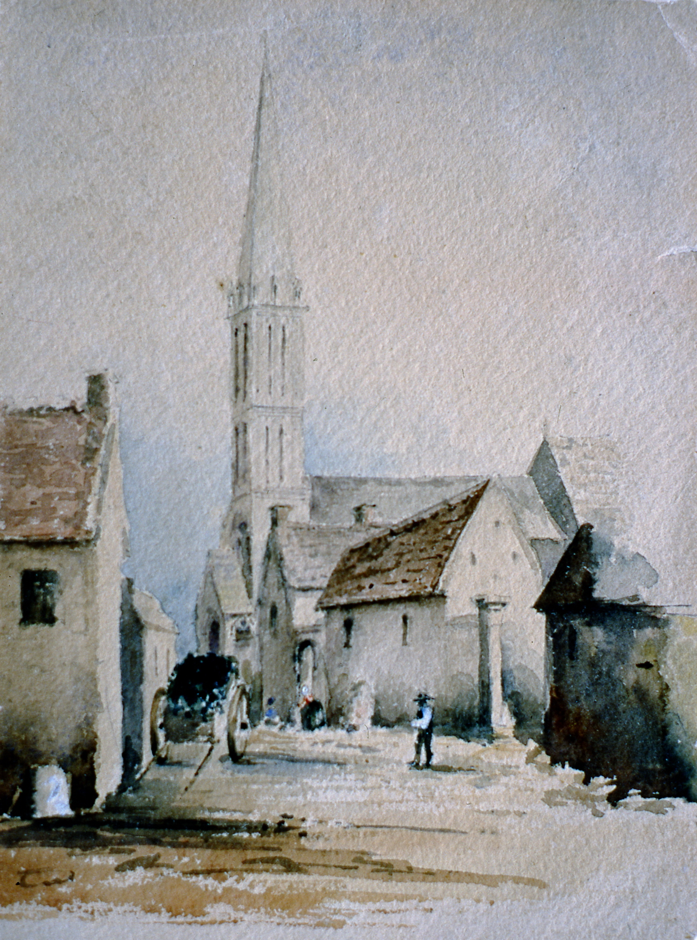 "Untitled Sketch (back - city scene), n.d., Julia Bullock Webster, watercolour on paper, 8""  x 6"", 2003.02.33, gift of The Grist Mill at Keremeos"