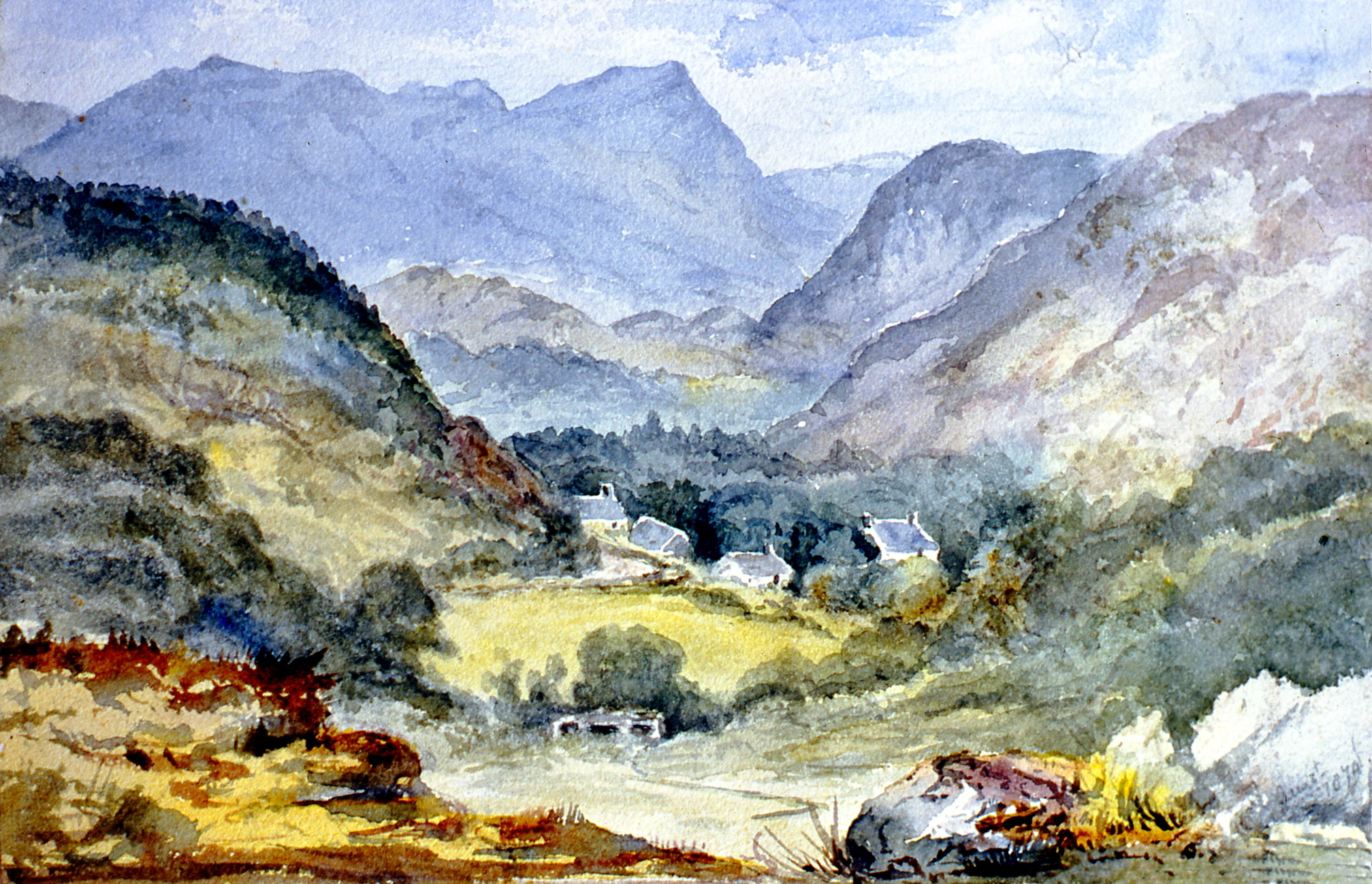 "Valley of the Artro, Ilaubeds (?) Marionetshire North Wales , August 1874, Julia Bullock Webster, watercolour on paper, 6 1/4""  x 9 3/4"", 2003.02.42, gift of The Grist Mill at Keremeos"