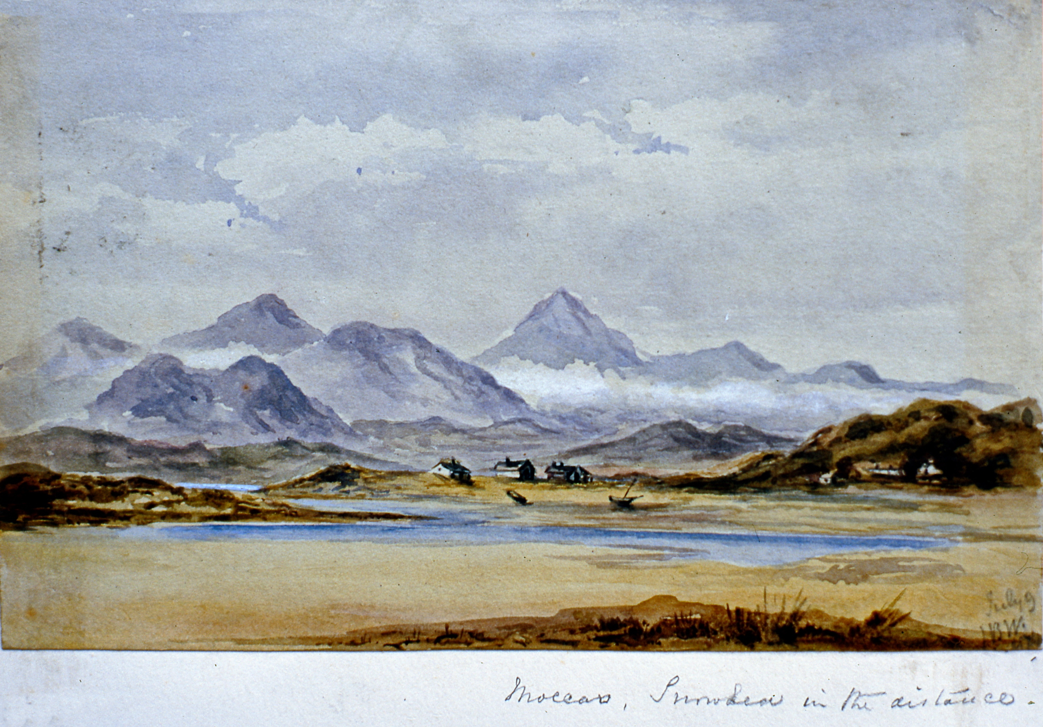 "Moccars, Smuden (?) in the distance , July 9 1874, Julia Bullock Webster, watercolour on paper, 4 3/4""  x 8"", 2003.02.43, gift of The Grist Mill at Keremeos"