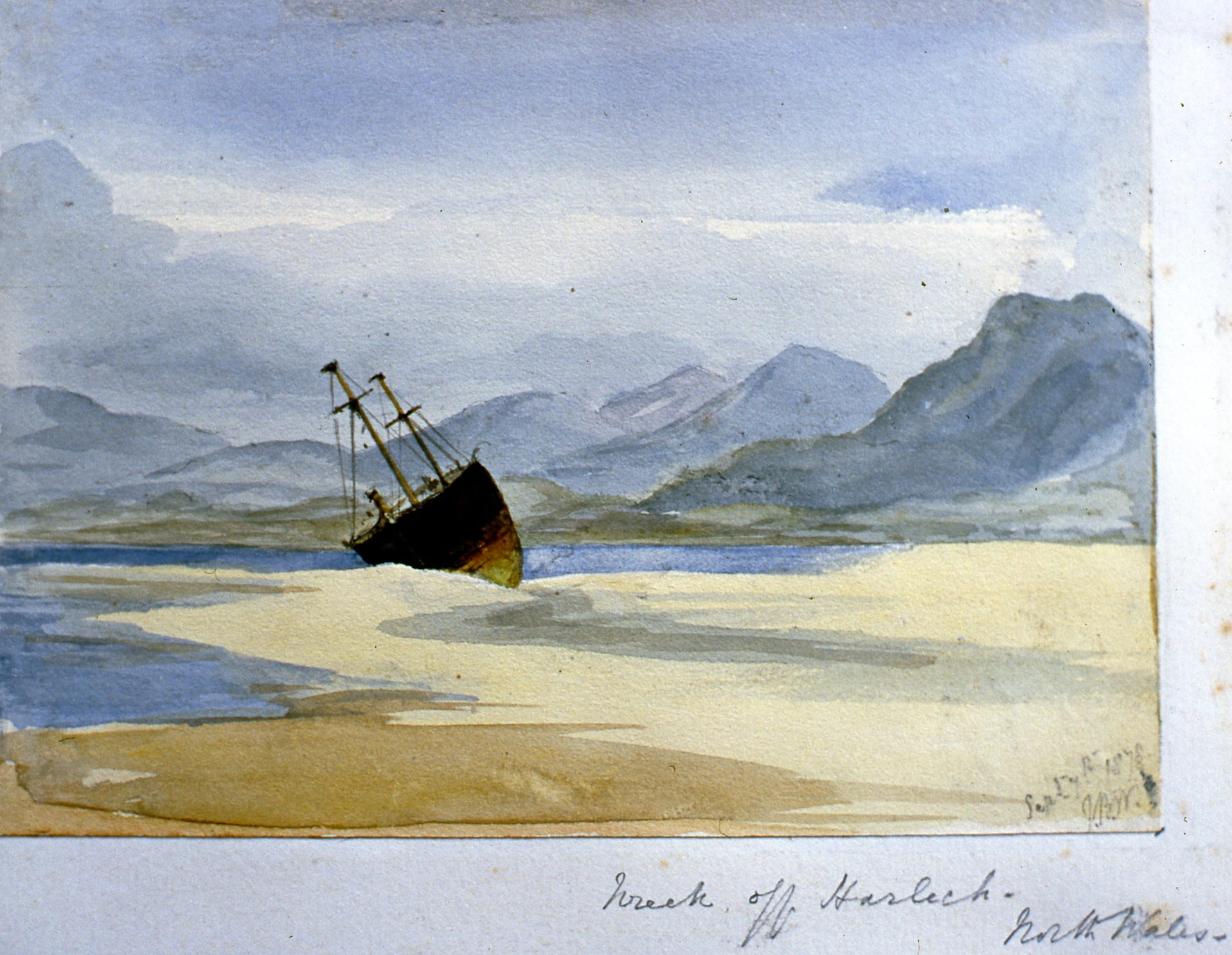 "Wreck off Harleck, North Wales , September 1878, Julia Bullock Webster, watercolour on paper, 5"" x 7"", 2003.02.45, gift of The Grist Mill at Keremeos"