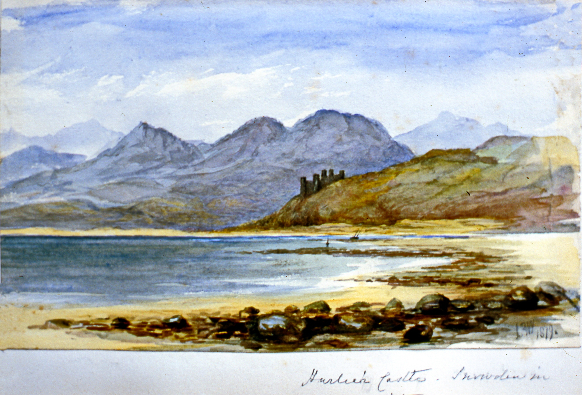 "Harleck Castle - Interuden (?) in the distance , 1879, Julia Bullock Webster, watercolour on paper, 5 1/4"" x 8 5/8"", 2003.02.46, gift of The Grist Mill at Keremeos"