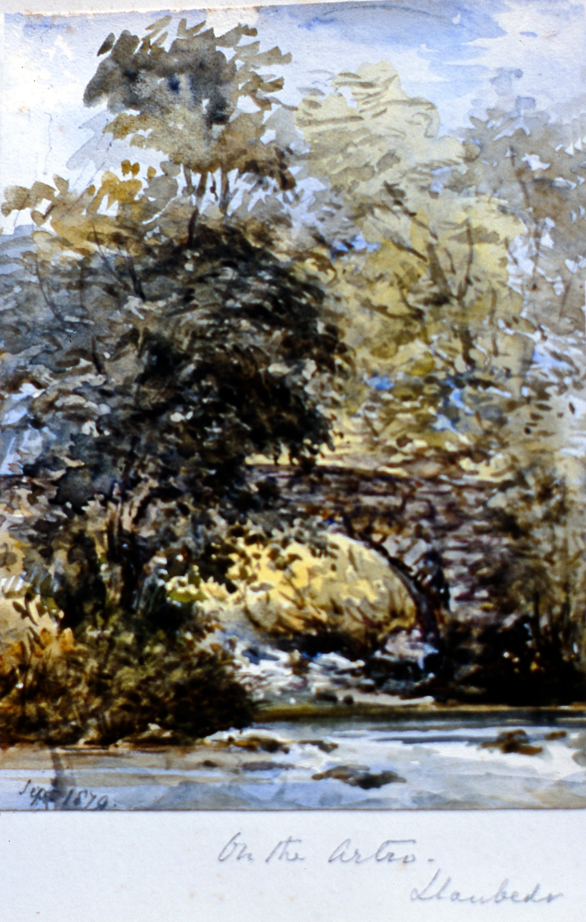 "On the Artro, Daubeds (?) , September 1879, Julia Bullock Webster, watercolour on paper, 5 5/8""  x 4 1/8"", 2003.02.48, gift of The Grist Mill at Keremeos"