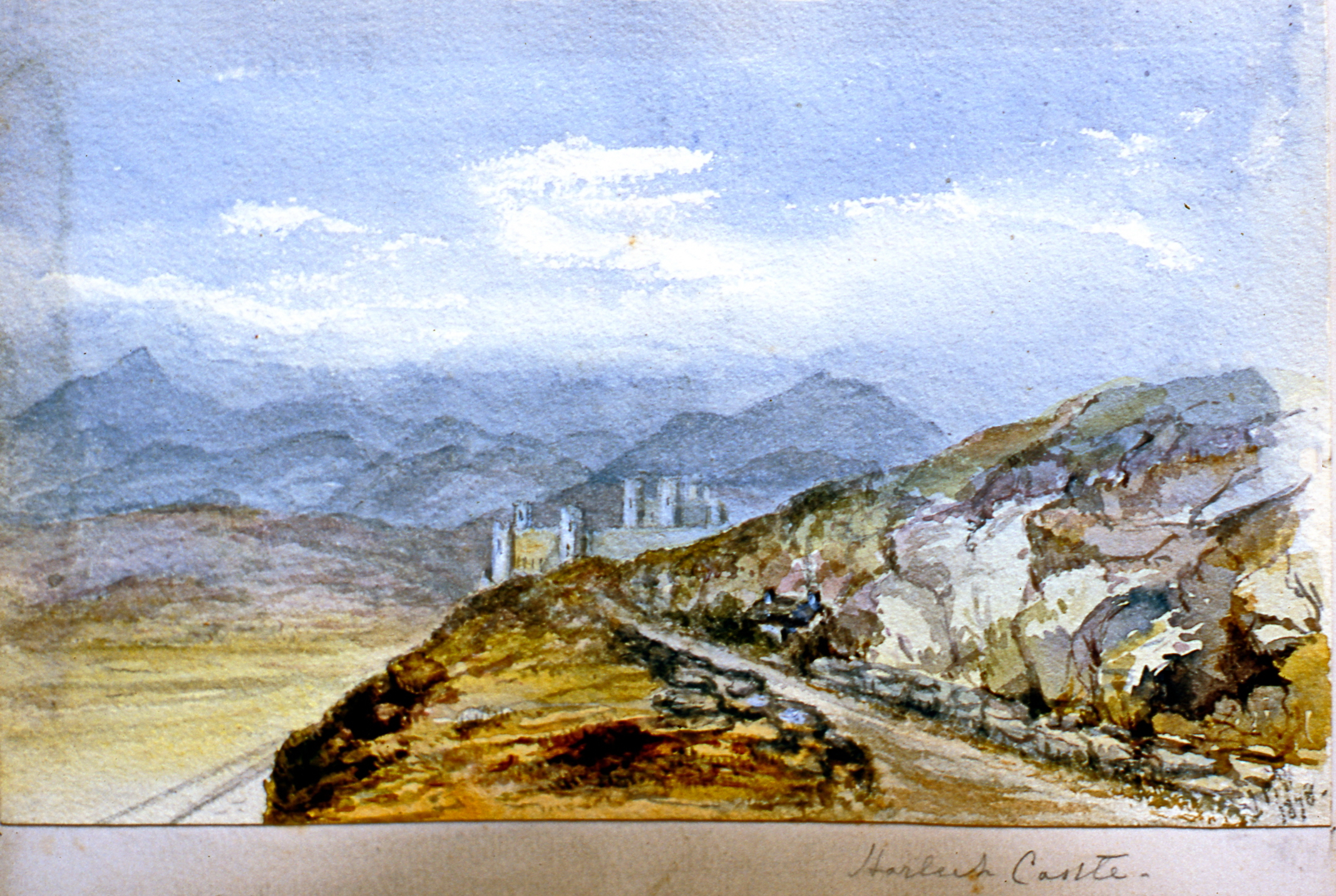 "Harleck Castle , 1878, Julia Bullock Webster, watercolour on paper, 5 1/2"" x 9"", 2003.02.49, gift of The Grist Mill at Keremeos"