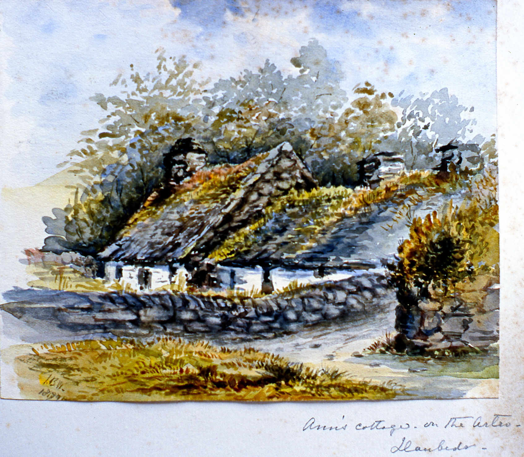"Ann's Cottage on the Artro , 1879, Julia Bullock Webster, watercolour on paper, 5 3/4""  x 7"", 2003.02.50, gift of The Grist Mill at Keremeos"