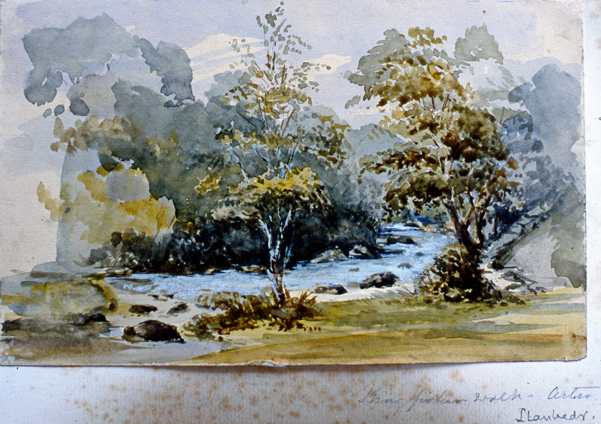 """Kingfisher Walk - Artro. Danbeds (?) , n.d.,Julia Bullock Webster, watercolour on paper, 4 7/8""""x 7 7/8"""", 2003.02.51, gift of The Grist Mill at Keremeos"""
