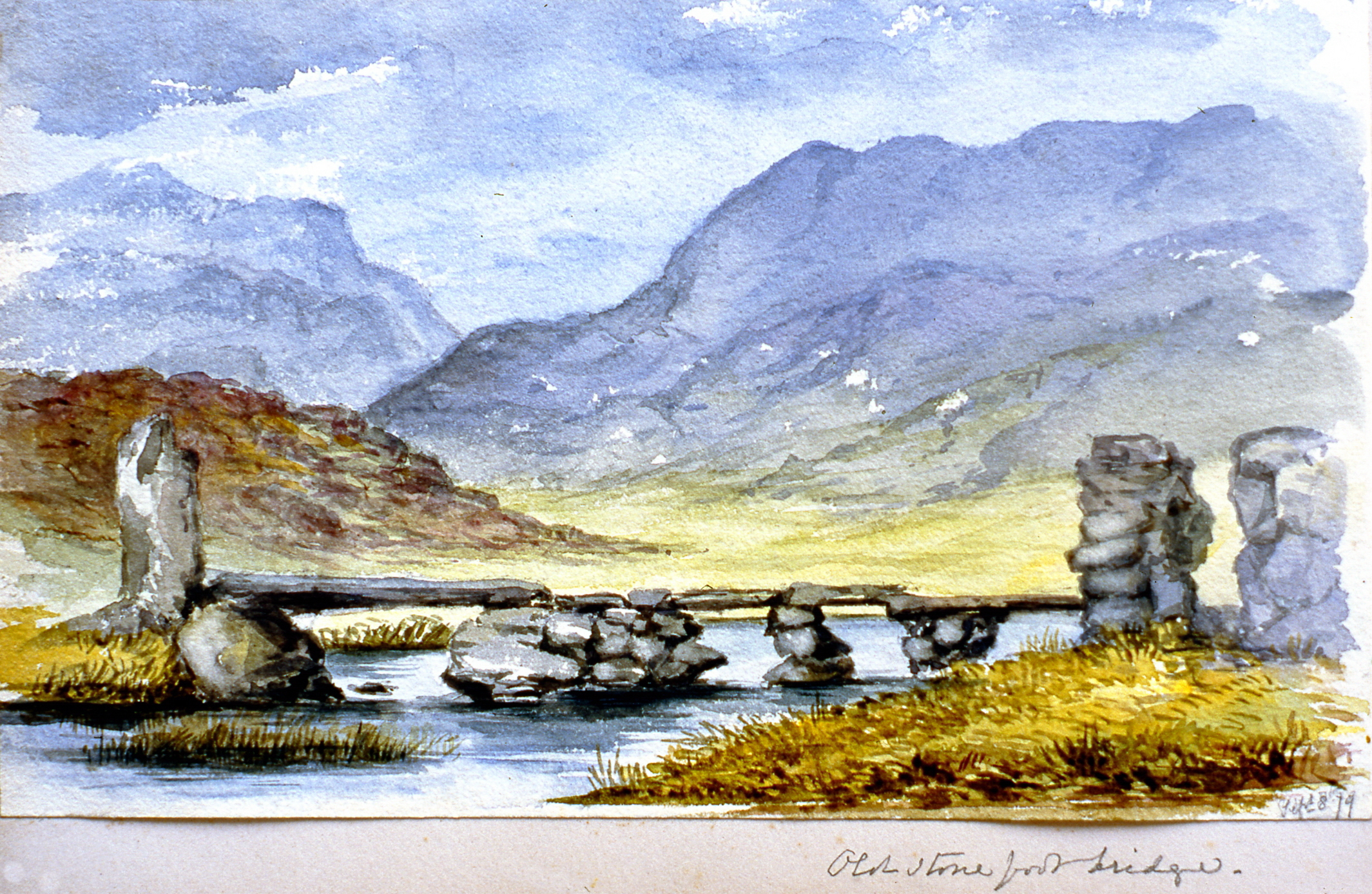 """Old stone footbridge. Cum Naucle - Daubeds (?) , September 1879,Julia Bullock Webster, watercolour on paper, 5 1/2""""x 9"""", 2003.02.53, gift of The Grist Mill at Keremeos"""
