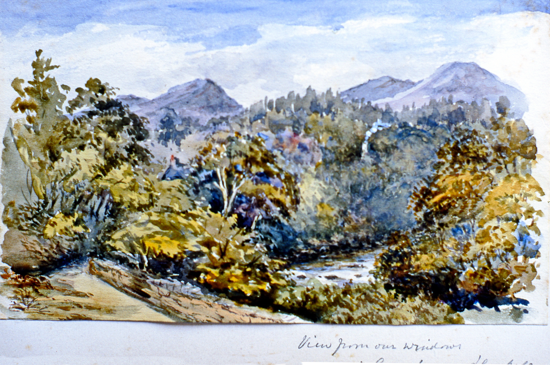 """View from our Windows at Groqufryn (?) - Daubeds (?) , n.d.,Julia Bullock Webster, watercolour on paper, 5 1/4""""x 9"""", 2003.02.55, gift of The Grist Mill at Keremeos"""