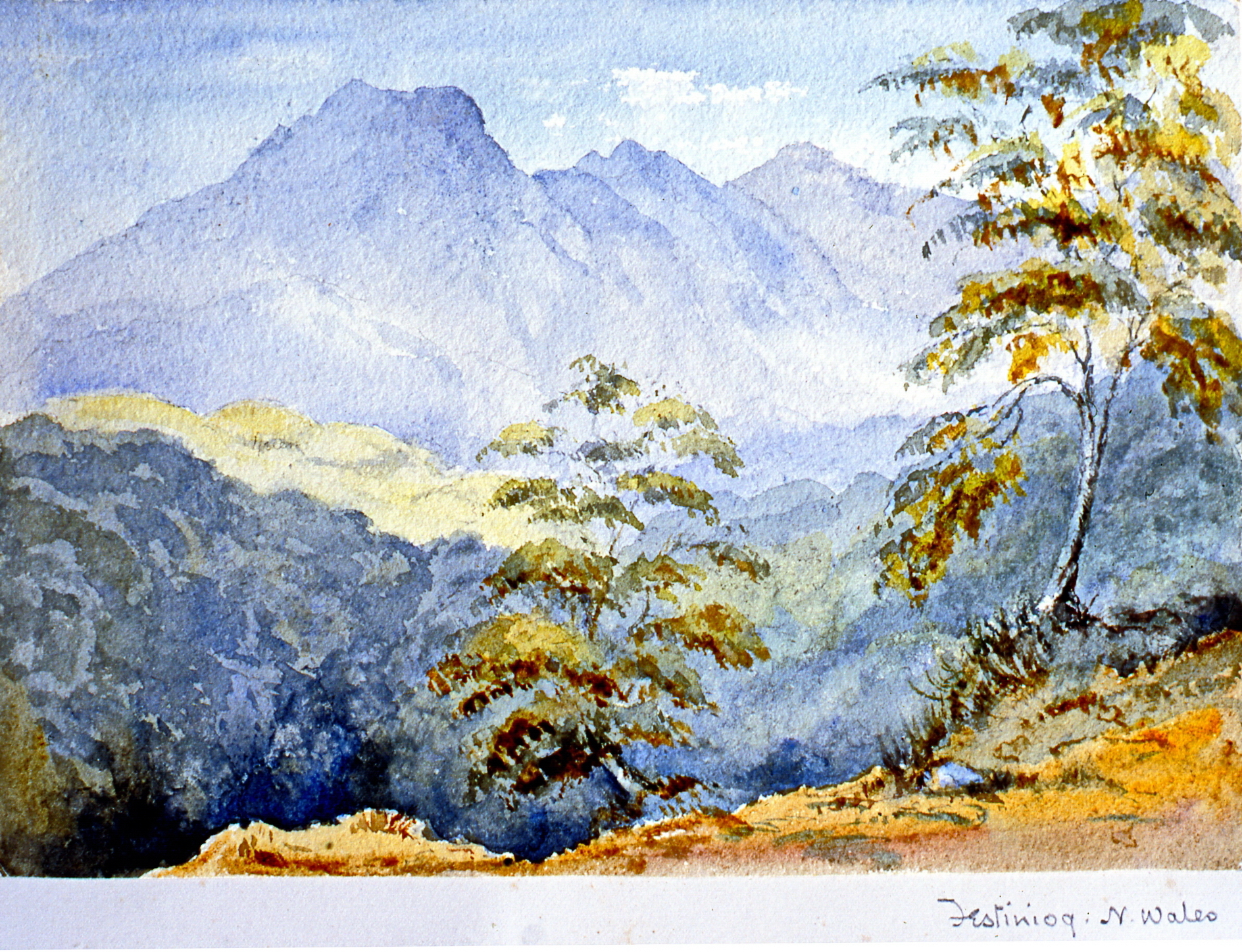 """Festiniog. N. Wales , n.d.,Julia Bullock Webster, watercolour on paper, 6 3/4""""x 9 3/4"""", 2003.02.56, gift of The Grist Mill at Keremeos"""