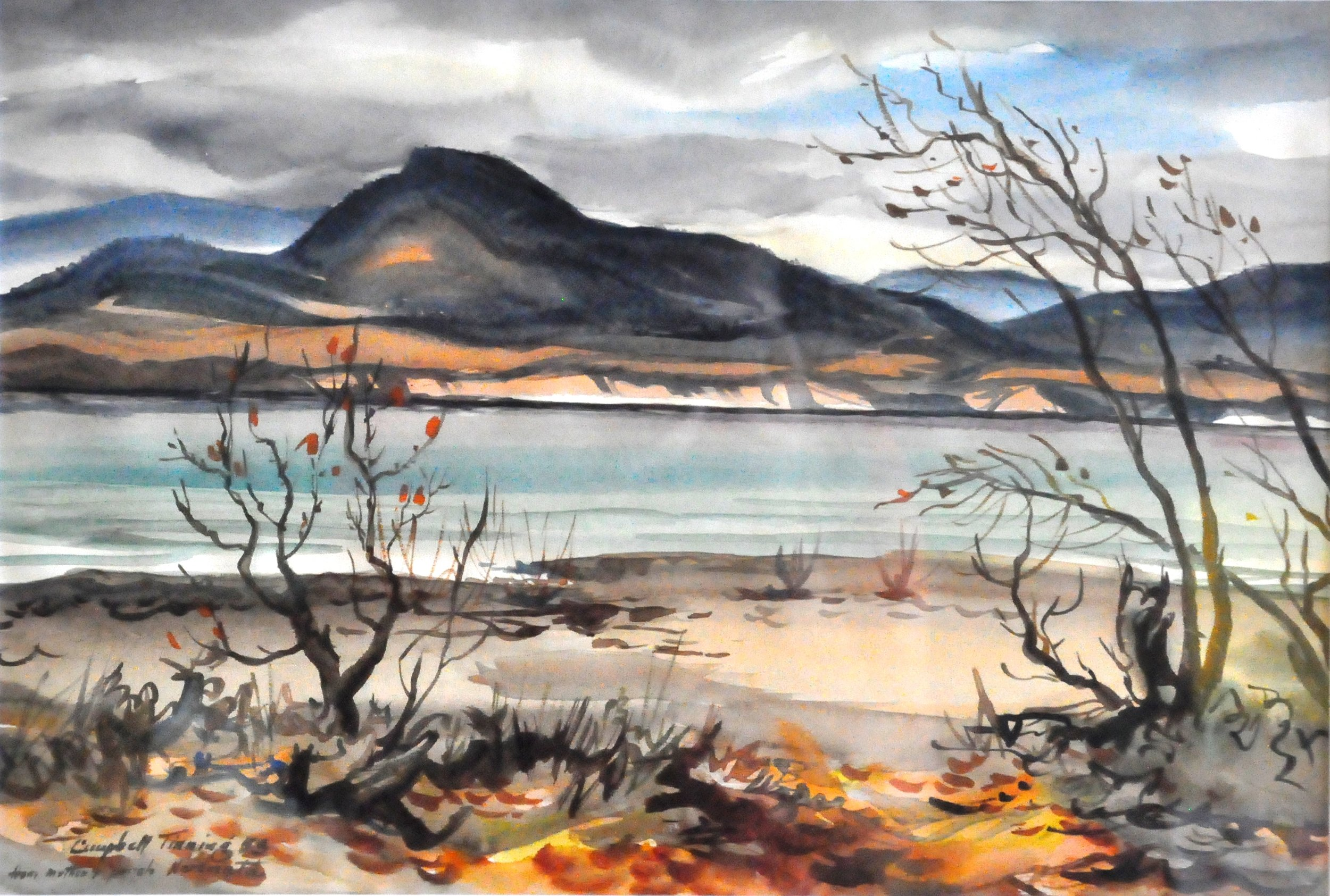"""From Mother's Porch, Naramata , 1953, George Campbell Tinning, watercolour on paper, 11"""" x 16"""", 2006.01.01, gift of Ann Collins"""