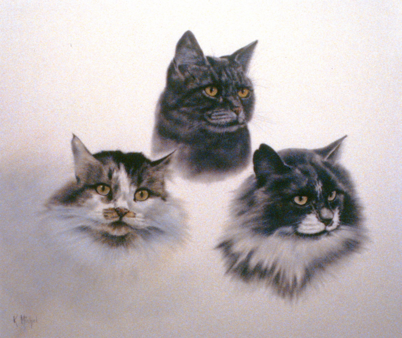 The Family,  n.d., Karl Michel, pastel on paper, 45.5 x 53 cm, 1995.01.08. Gift of the Okanagan Mainline Regional Arts Council.
