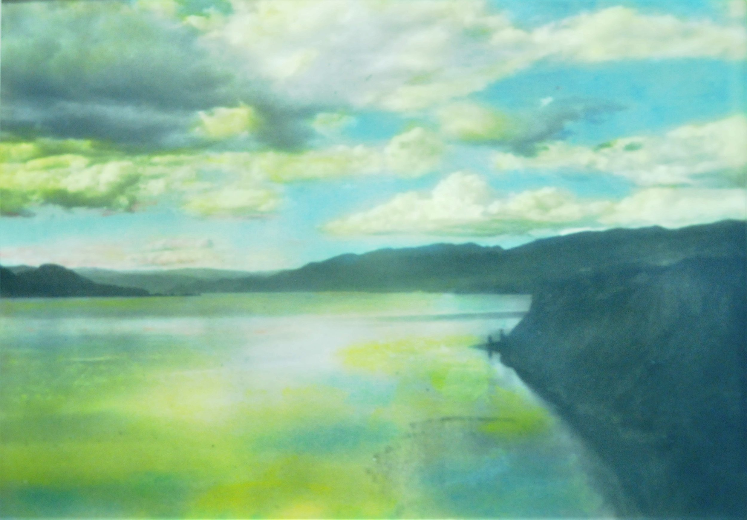Evening on Okanagan Lake, c. 1930s, Victor Russell, tinted photograph, 2007.03.12.Gift of Kirsten & Ron Candy.