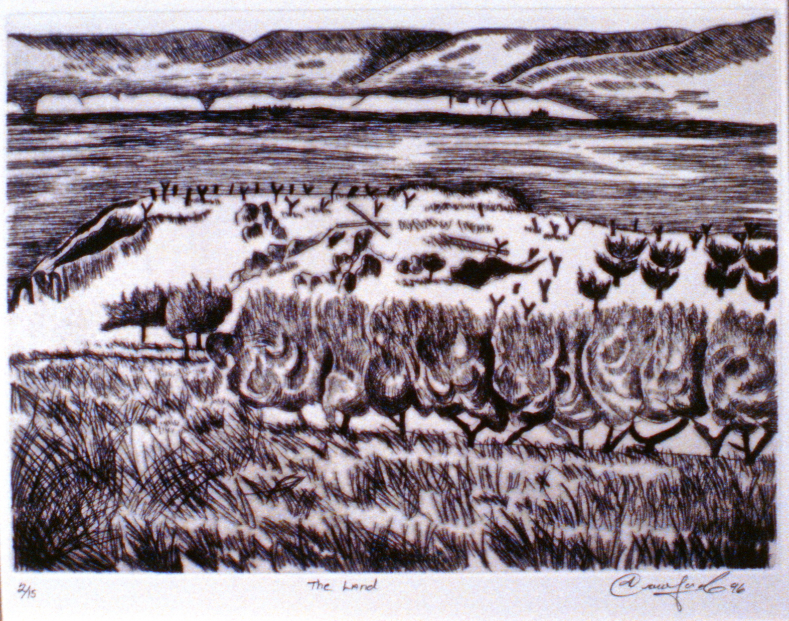 The Land,  1996, Jan Crawford, etching, edition 2/15, 20 x 27.5 cm, 1997.03.01. Gift of the artist.