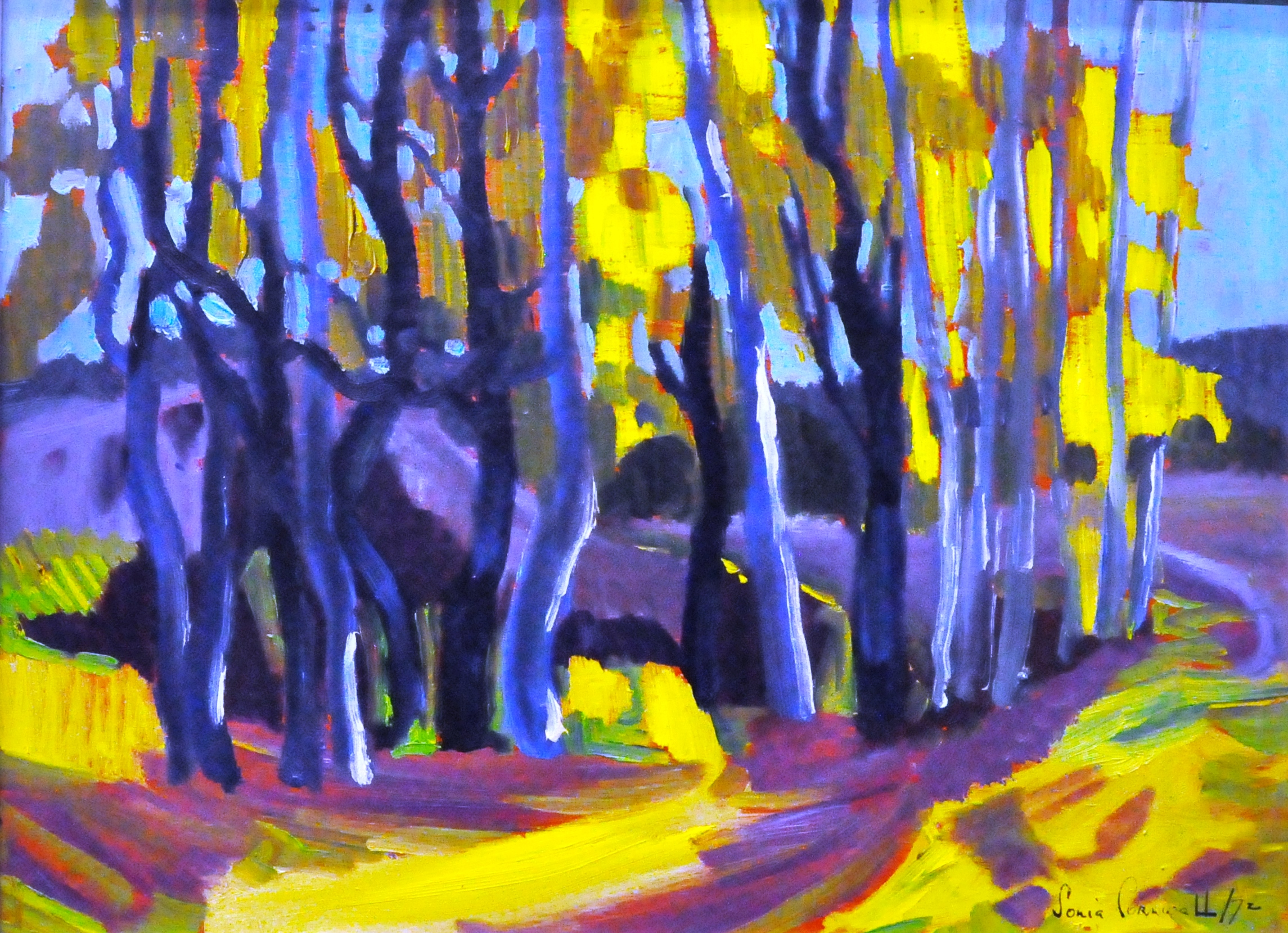 "Fall Finery,  1972, Sonia Cornwall, acrylic?, 11.5"" x 15.5"", 2008.06.01"