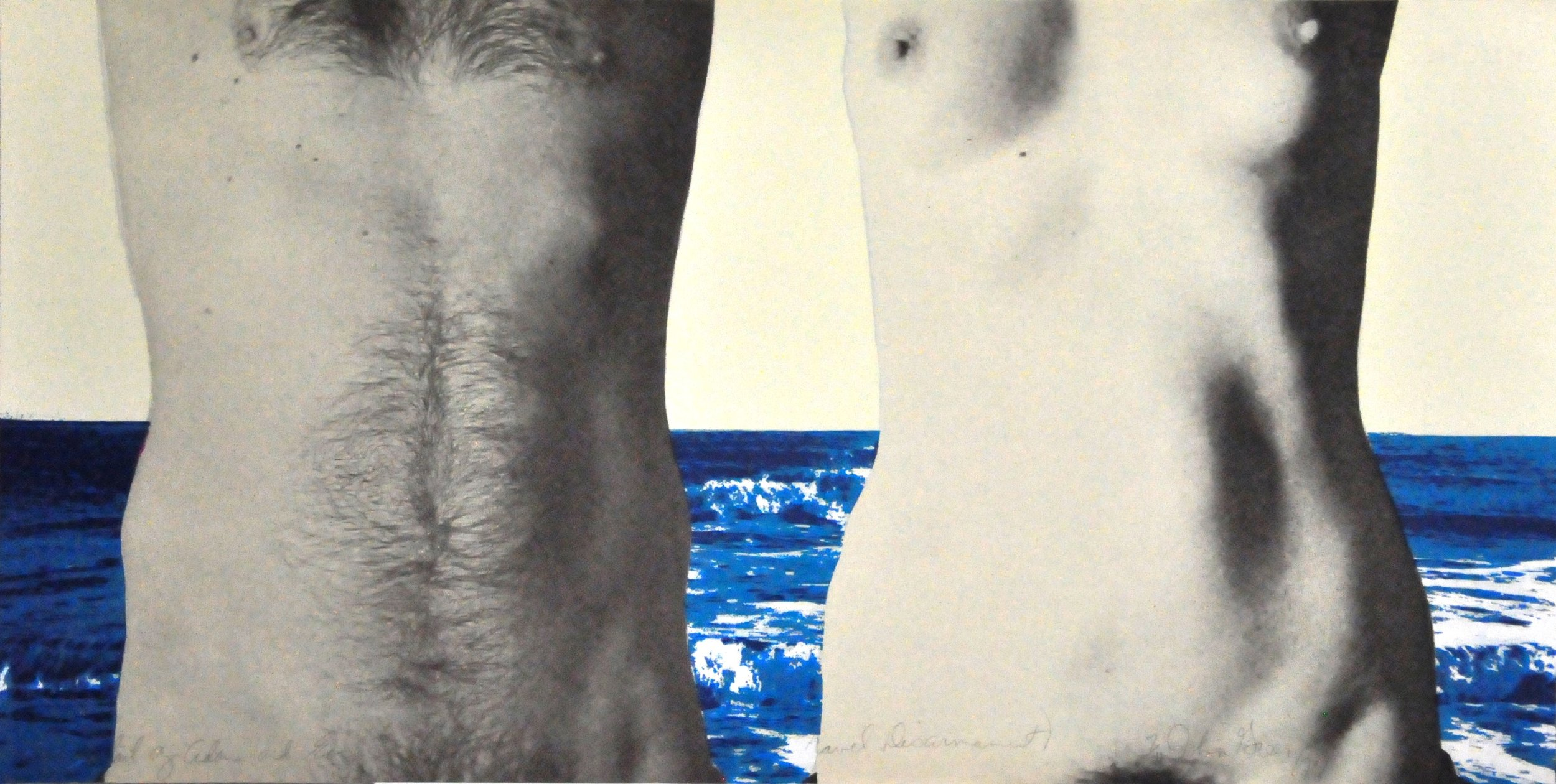 "Detail of Adam and Eve (Can't Very Well be Called Naval Disarmament) , 1977, John Greer, serigraph, edition 7/41, 15"" x 29"", 2008.02.03. Canada Art Council Art Bank."