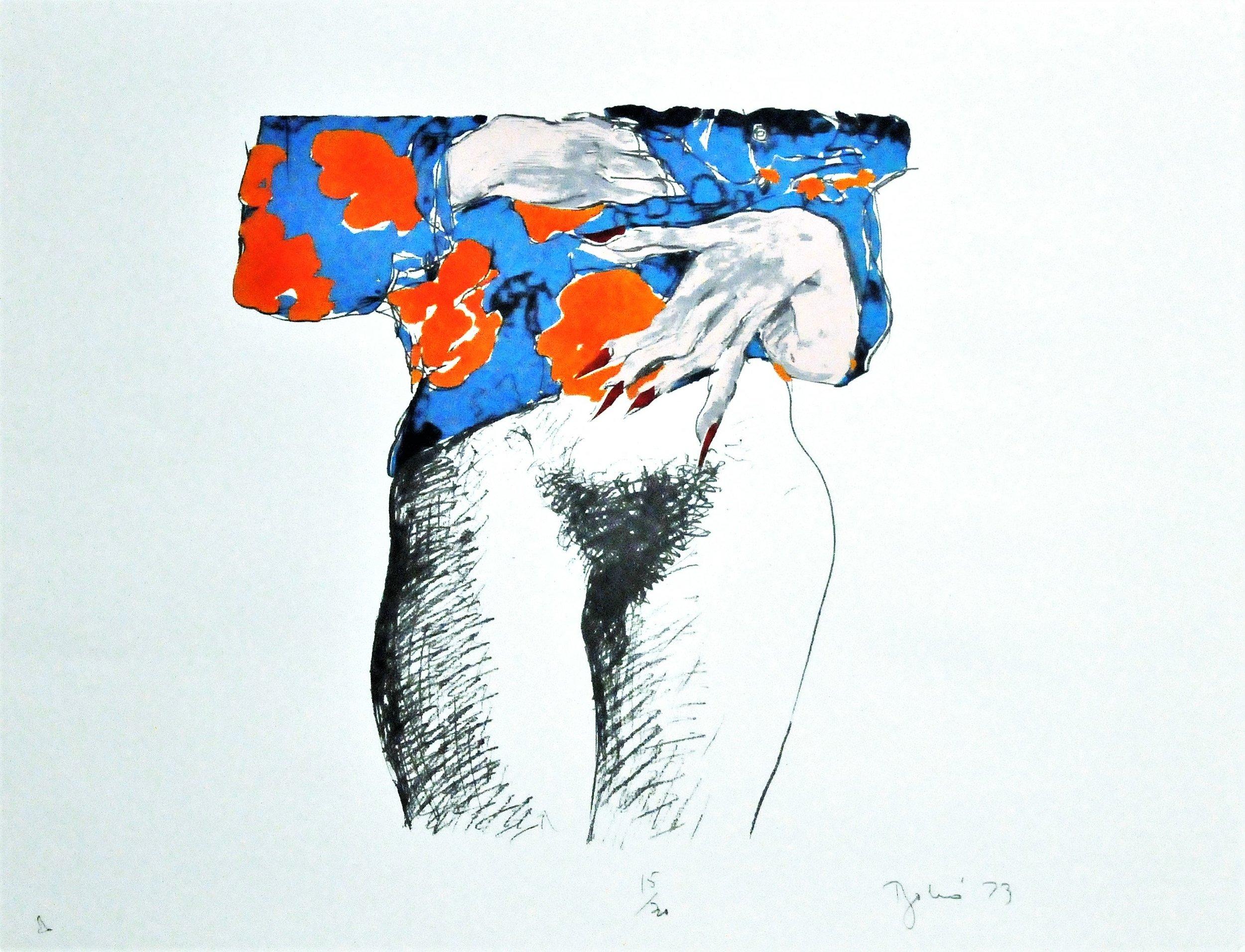 "Standing Nude, 1973, Louis Bakó, serigraph, edition 6/40, 22"" x 28"", 2008.02.10. Canada Art Council Art Bank."