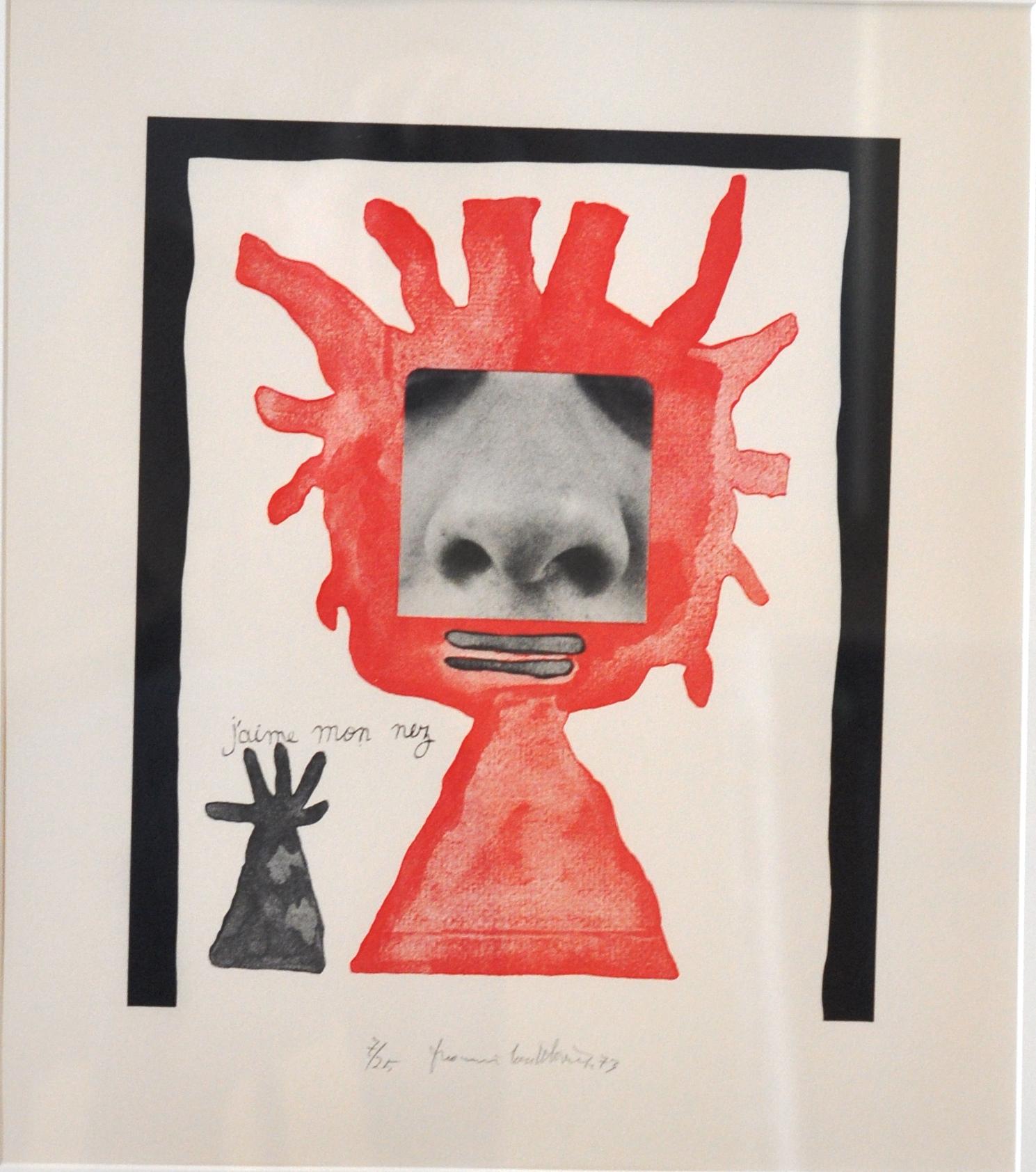 """J'aime mon nez, j'aime le pigeon, j'aime mes oreilles,  1973, Francis Coutellier, lithograph, 25.6""""   x 59.6"""", Gift of the Canada Council Art Bank"""