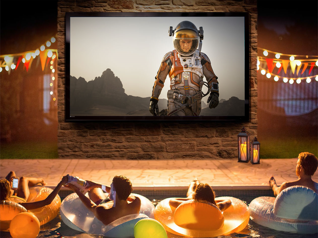"Reimagine Pool Parties  86"" UHD/4K  Outdoor TV for use in  direct sunlight!"