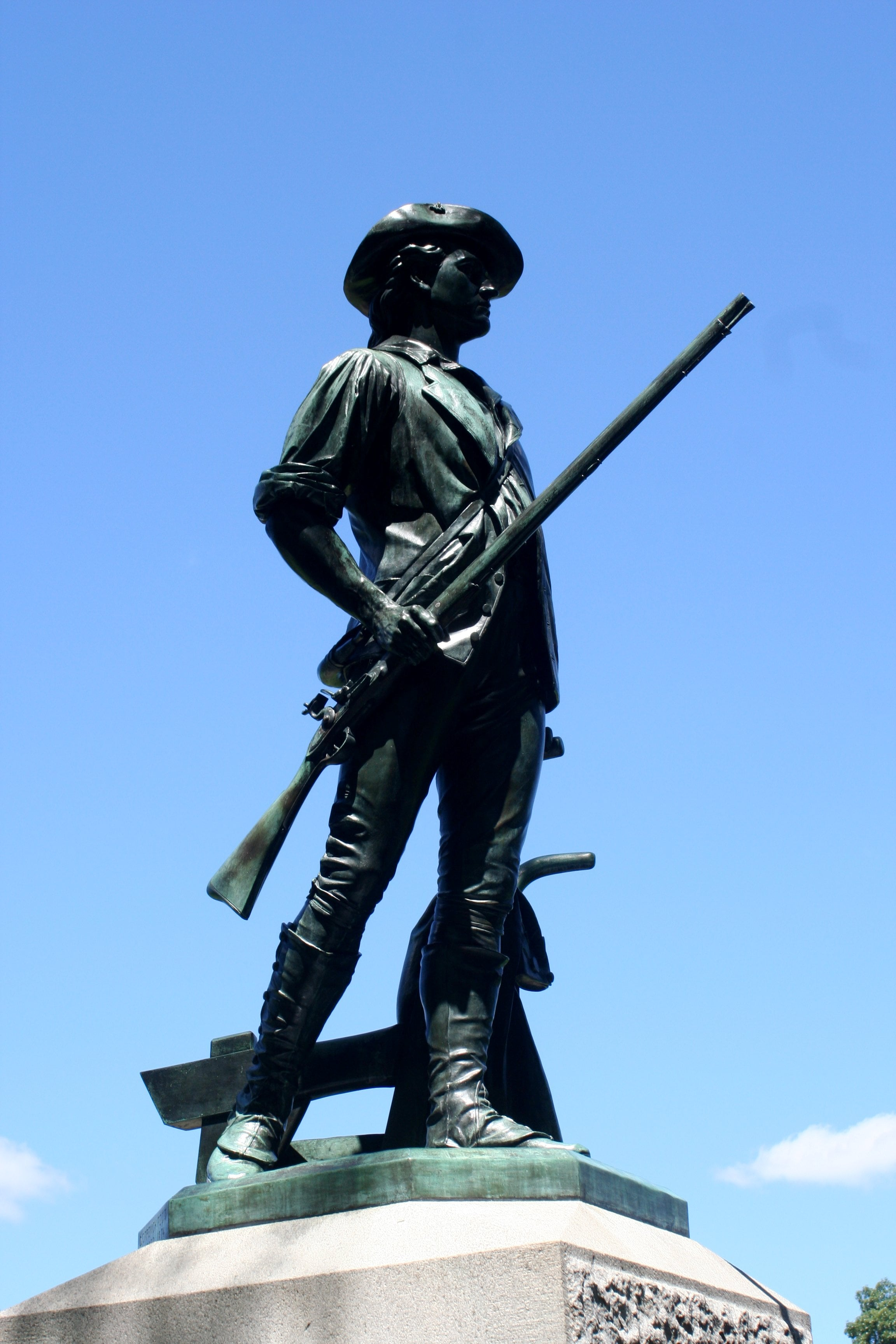 "The Minute Man Monument depicts a young man with musket in hand as he leaves his plow in defense of freedom. The minuteman's ""shot heard around the world"" was prolog to the restoration of the gospel.  Now missionaries using the Book of Mormon, rather than a musket, ""fire the shot heard round the world."""