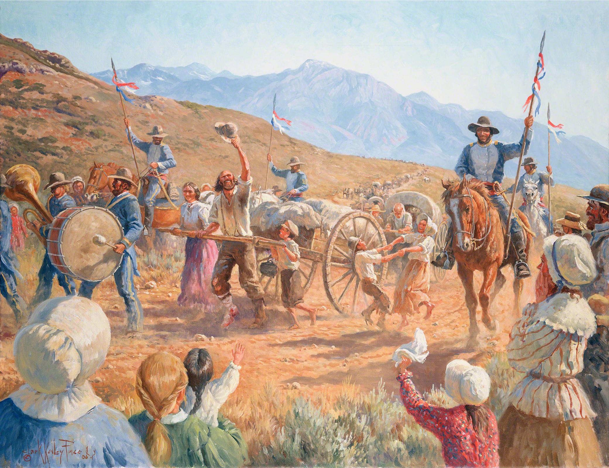 Handcart Pioneers Arrive in Salt Lake , by Clark Kelley Price