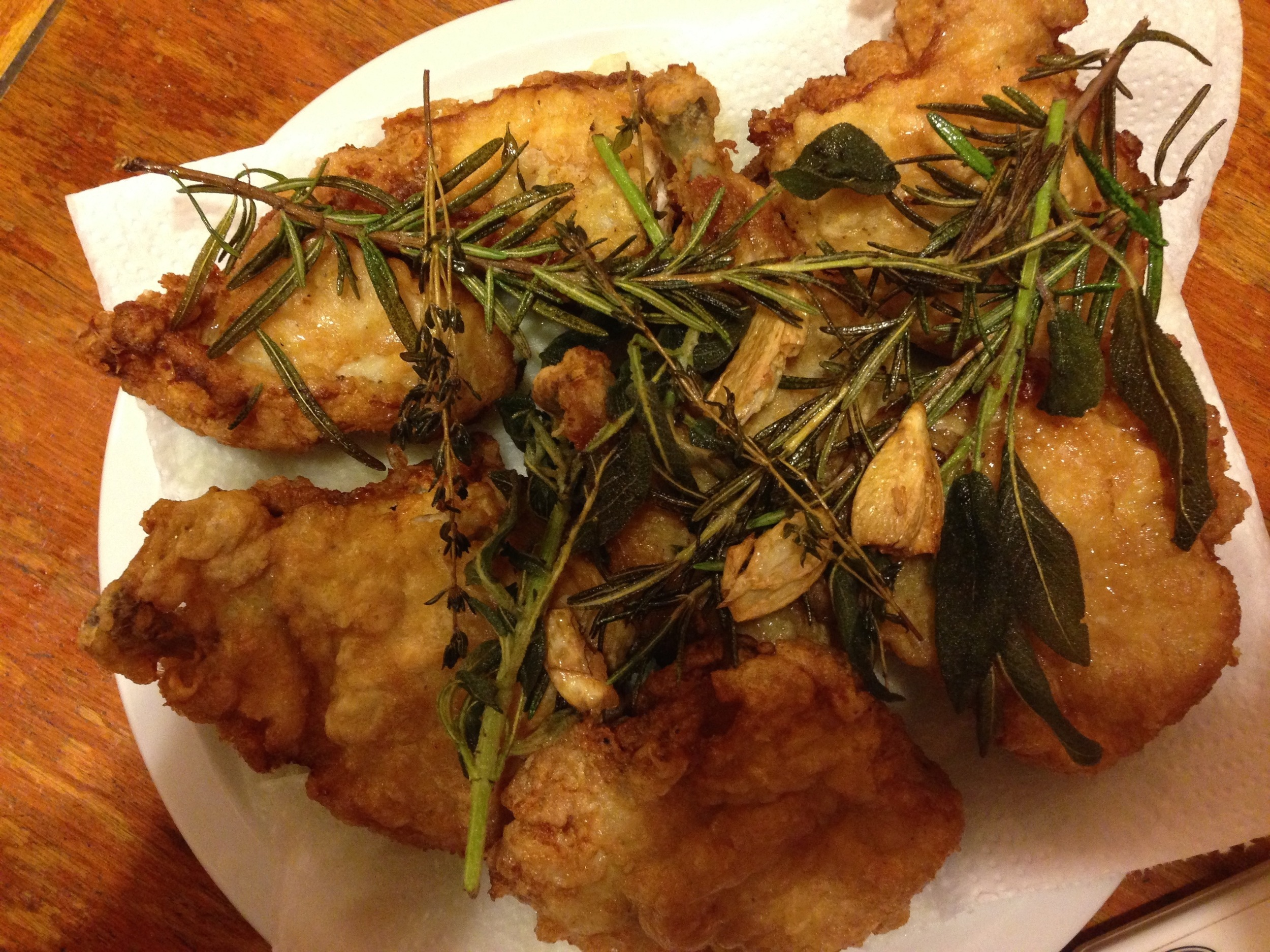 Yuzu Fried Chicken with Fried Herbs and Garlic