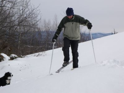 Veteran telemark skier Steve Kantor gets first tracks on the newly accessible North slope of Mt. Philo after a recent dump, with Izzie taking lessons.