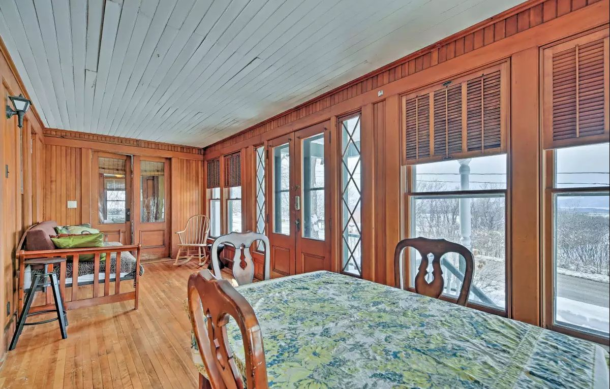 West Wing interior porch - Spacious interior paneled porch, all original wood