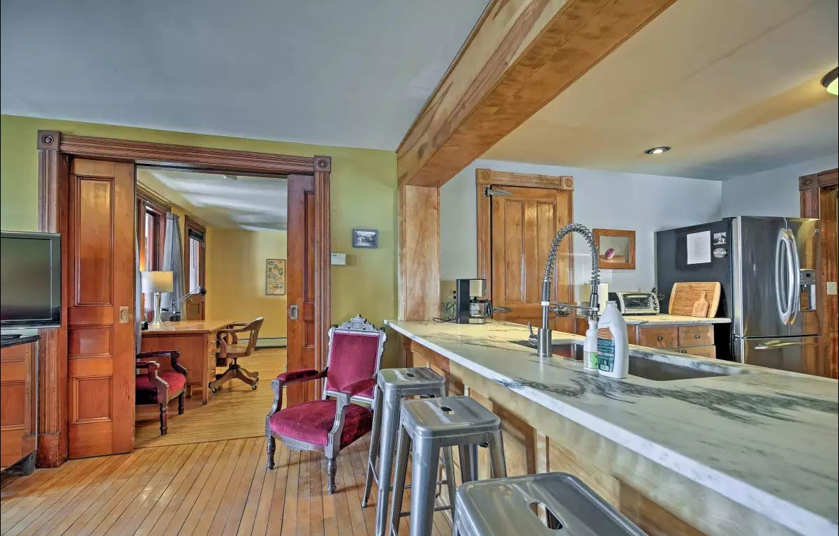 Huge marble kitchen counter, pocket doors, chef's kitchen