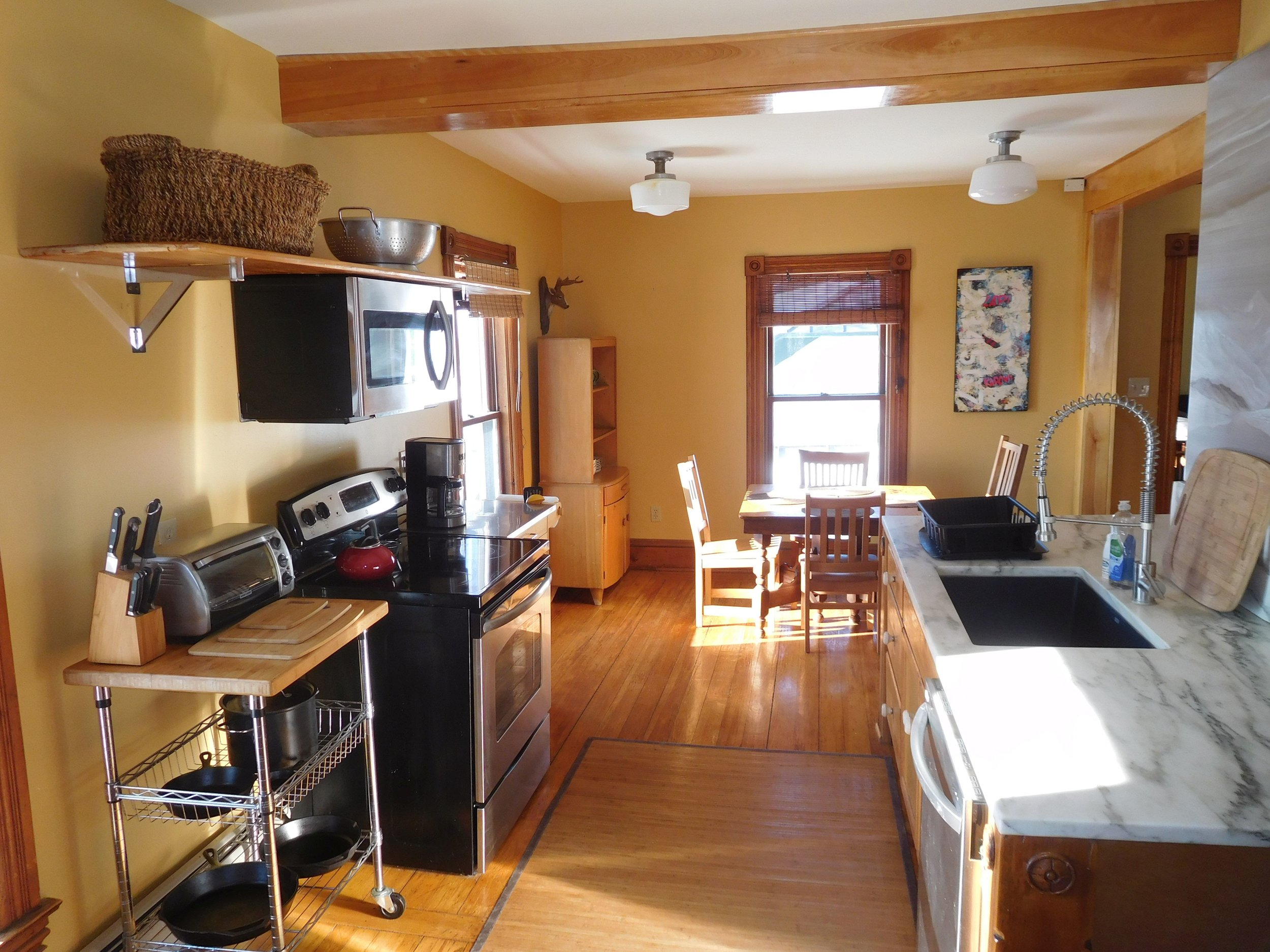 Left Wing kitchen - Plenty of counter space, dishwasher, custom brushed aluminum art.