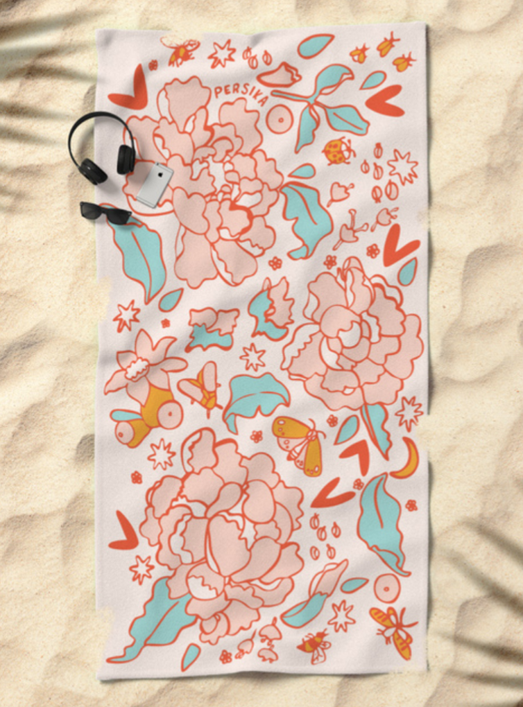 Vintage Summer Flowers Beach Towel   $38.99 Society6 Product Click   HERE  to purchase