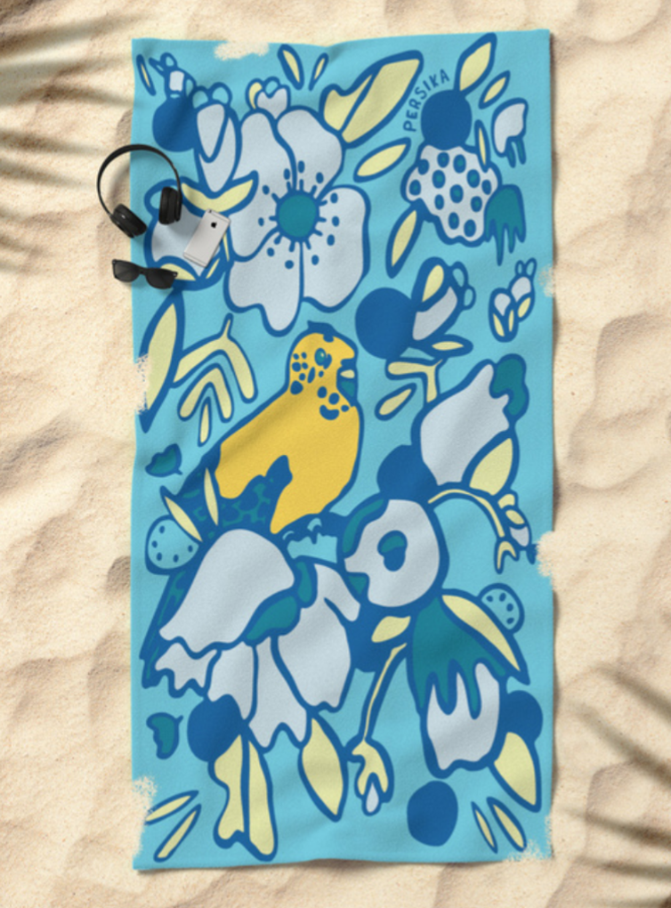 Yellow Bird in Paradise Beach Towel   $38.99 Society6 Product Click   HERE  to purchase