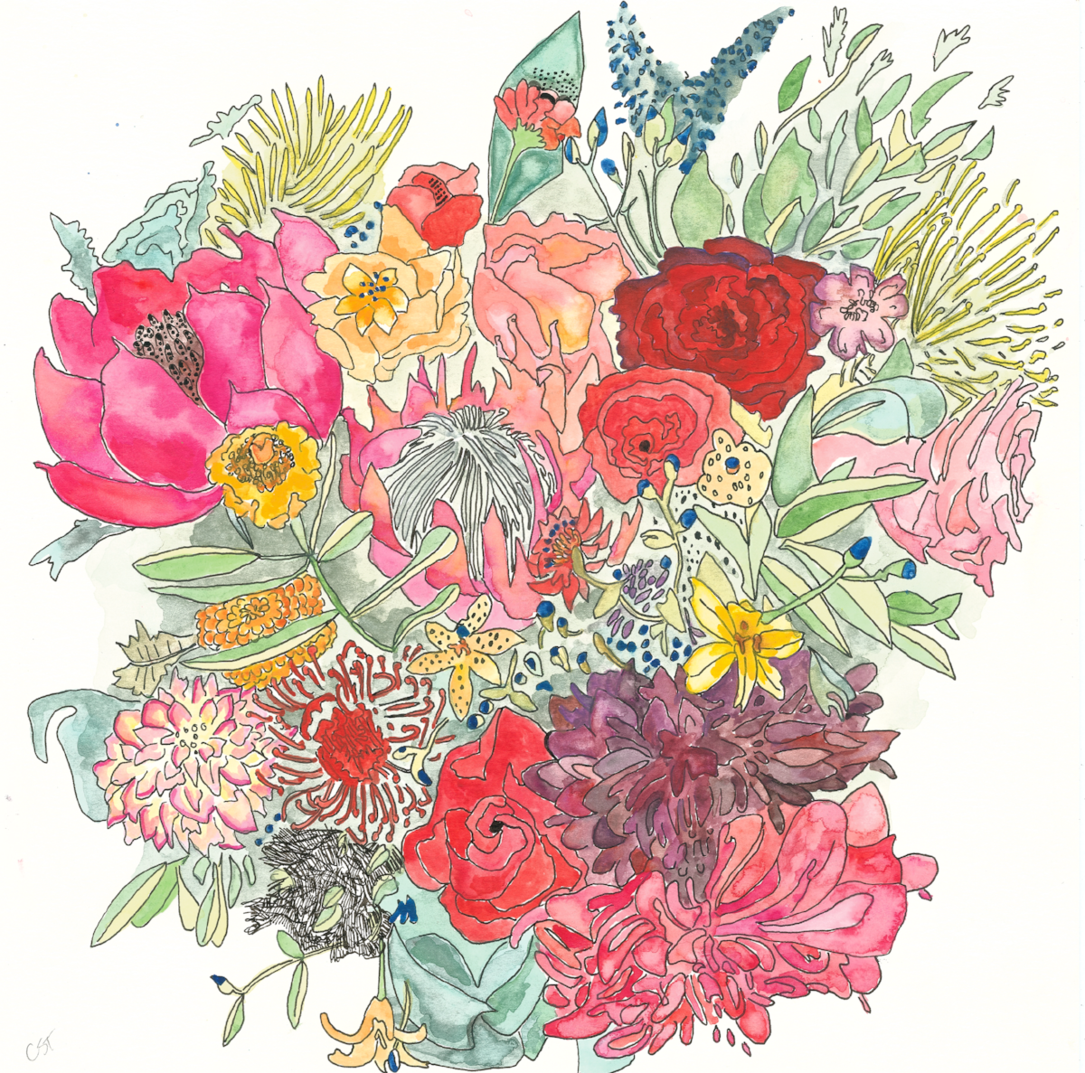 Floral Bouquet   Christina Scheppmann Thomas, 2015 Watercolor & Ink on Paper   Copyright Persika Design Co. LLC - Contact Christina@PersikaDesignCo.com to commission or collaborate!