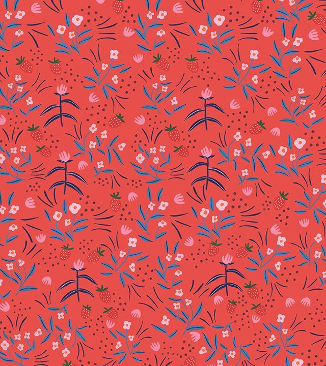 My fun little weekend project is complete 🌸 I wanted to create a red little ditsy floral pattern. Thinking I'm gonna make some fabric! Has anyone used @spoonflower or anything similar before?! 🌛