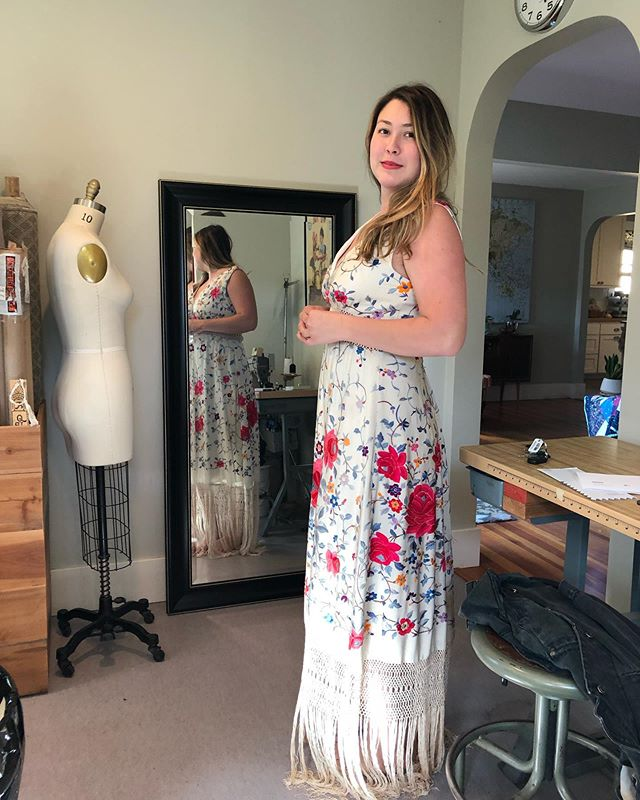 I finished this wedding dress a week or so ago and just now I'm getting around to posting pictures of the fitting. The bride had a vintage piano shawl from the 1920s that she wanted to use as her fabric and I used every inch of the fabric and the crochet edge to make a waist and fringe hem.  #vintagefabric #customsewing #meganselbysews #weddingdress #wedding
