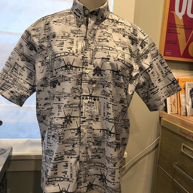 My dad was a fighter pilot and was born on the 4th of July. Here's the shirt I made him for his birthday this year. I had @spoonflower print the Navy F-18 fabric and I sewed this custom men's button down. #highwaytothedangerzone. #customsewing #slosewing #planes #airplanes #f18hornet  #meganselbysews #gonavy