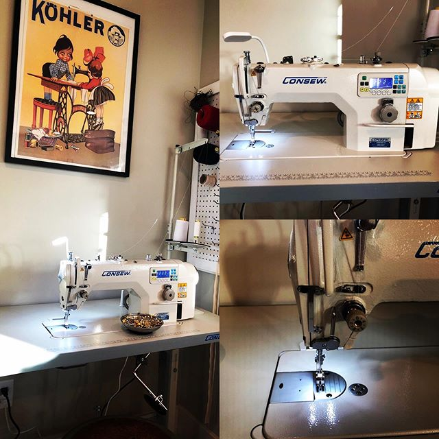 Replaced my old industrial machine with a BRAND NEW industrial machine! This new machine is so quiet and smooth and automatically cuts the thread 🥰 What a dream machine !! #meganselbysews #customsewing #sewingmachines #industrialsewingmachines #sewslo #granthousesewingmachines