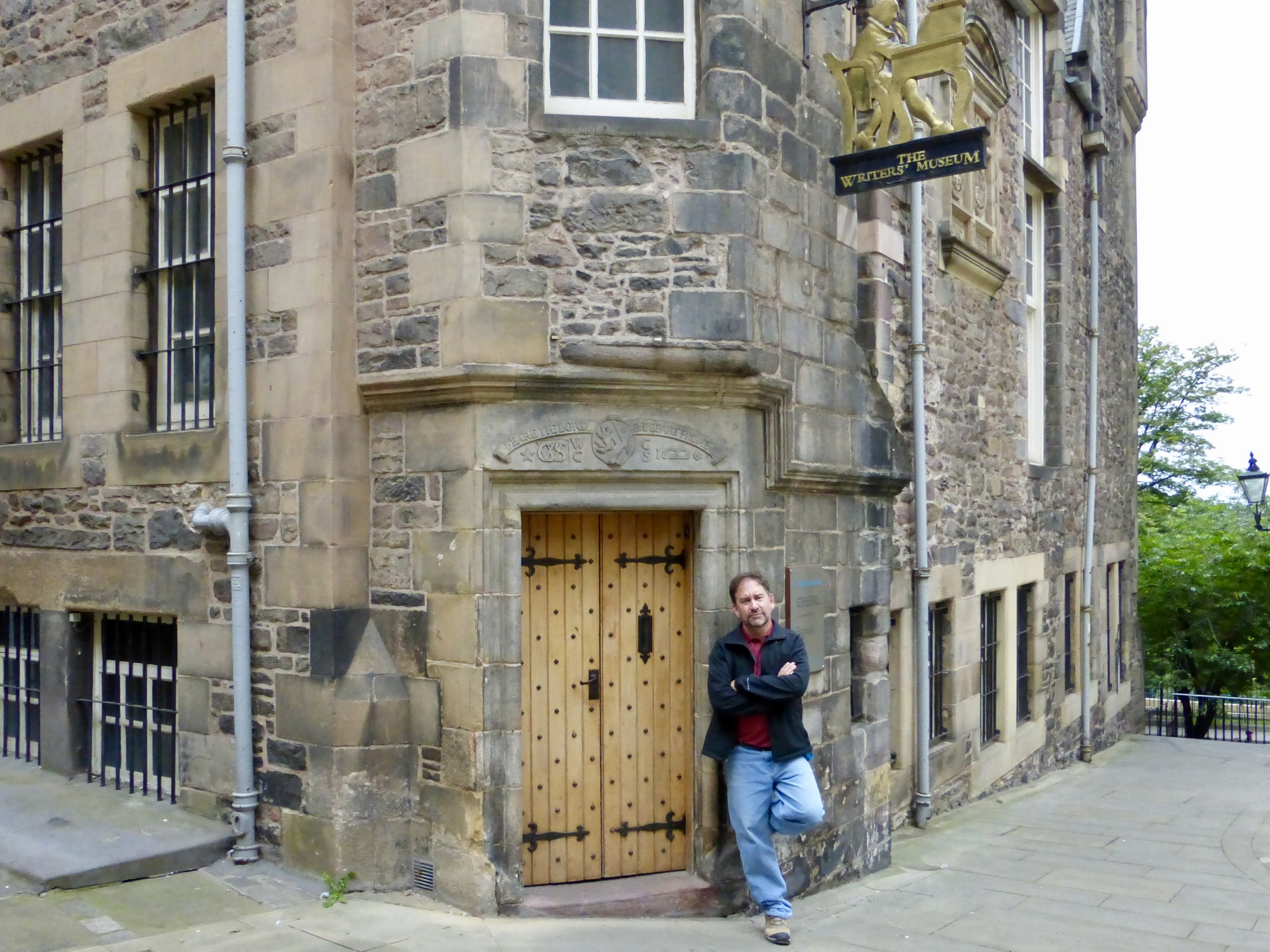 Me locked out of the Writers Museum in Edinburgh.