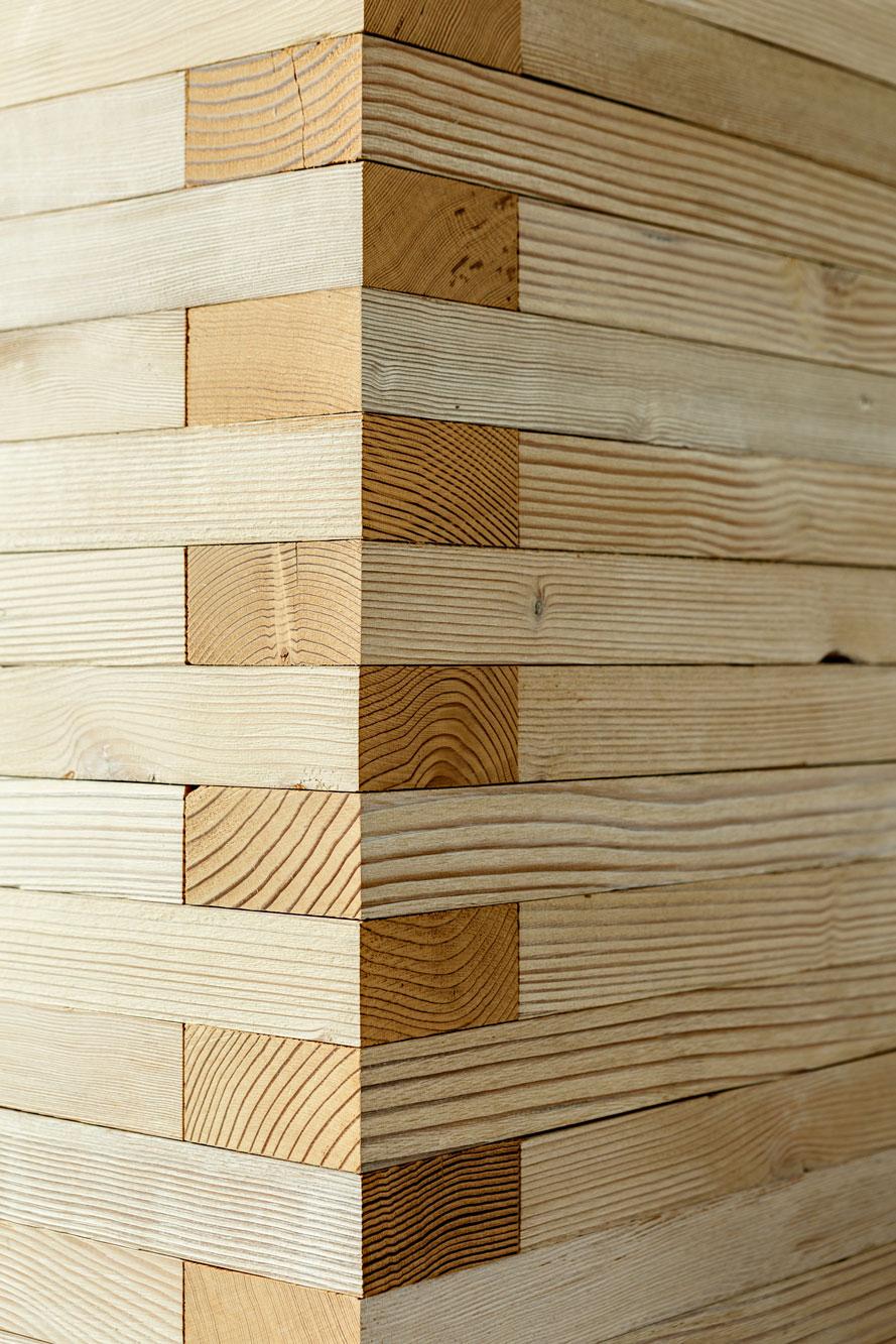 Detail of wood wall corner